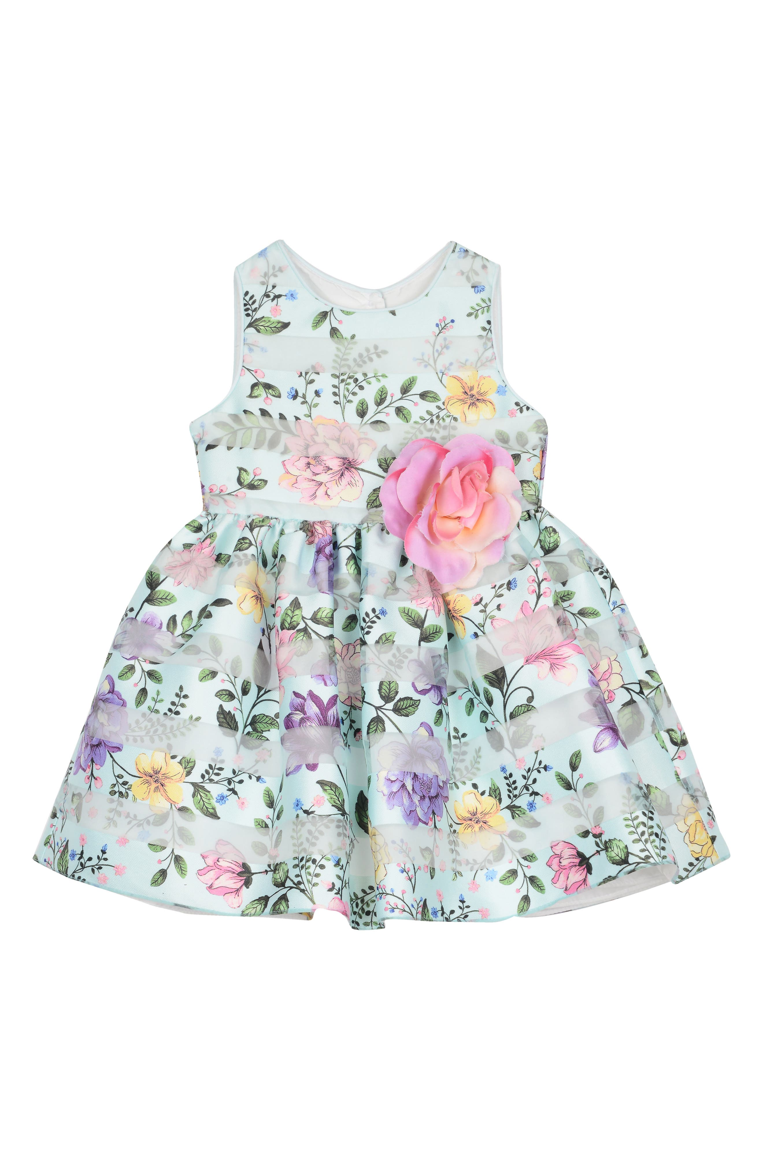 Pippa & Julie Shadow Stripe Floral Fit & Flare Dress (Toddler Girls, Little Girls & Big Girls)