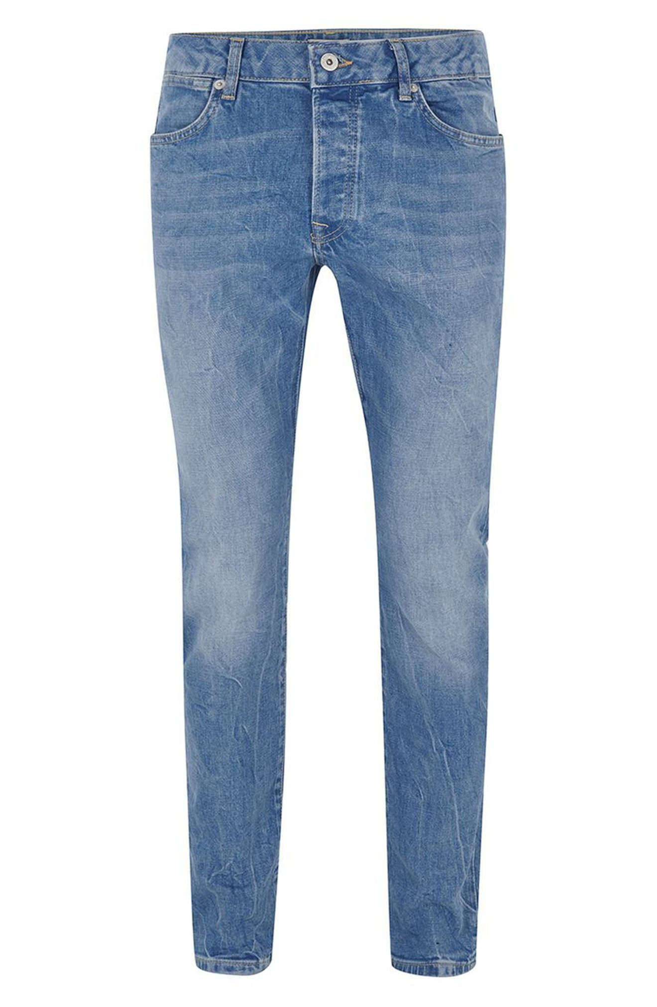 Stretch Slim Leg Jeans,                             Alternate thumbnail 4, color,                             Bright Blue