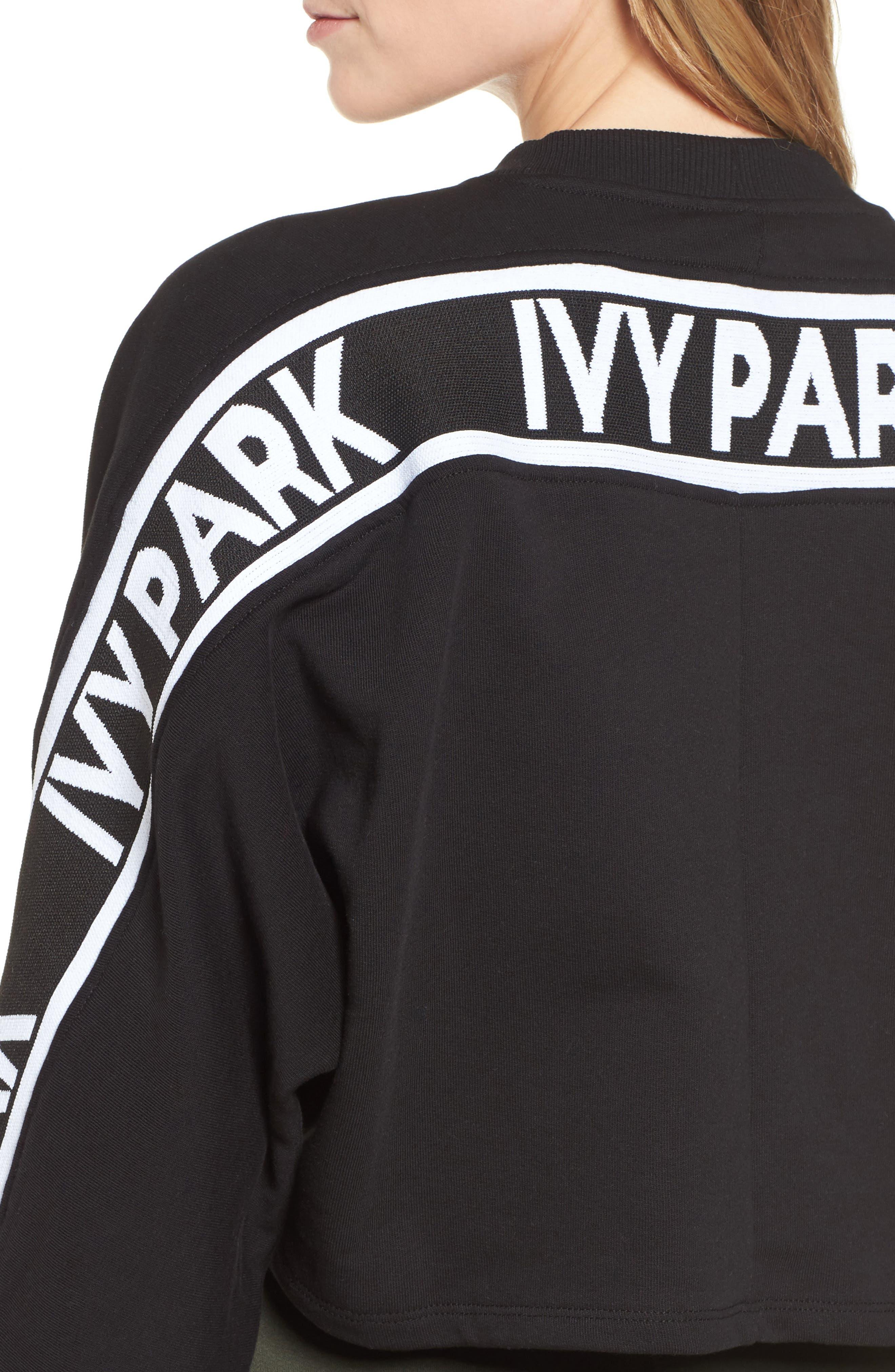 Logo Tape Crop Sweatshirt,                             Alternate thumbnail 7, color,                             Black
