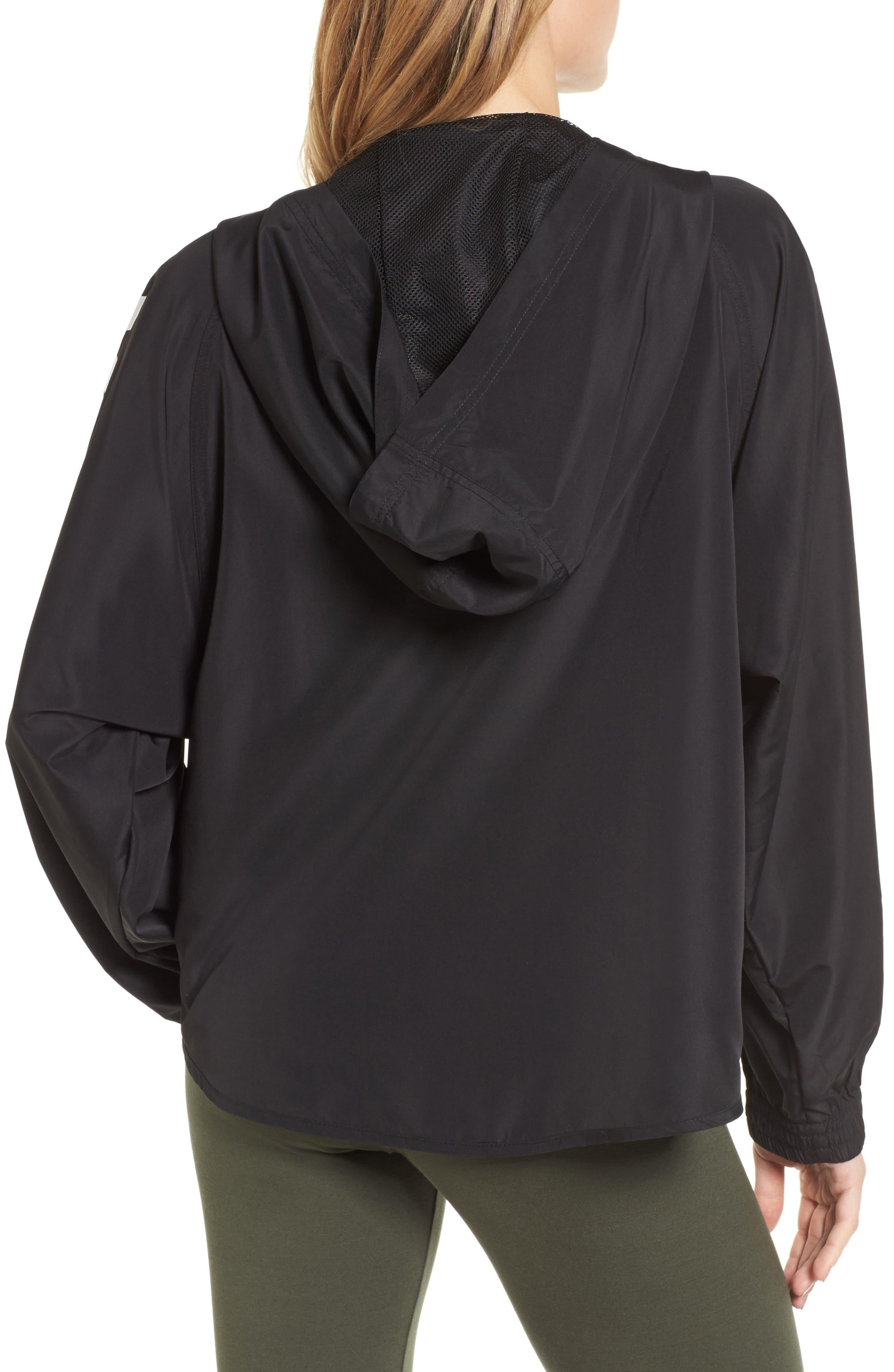 Quarter Zip Hooded Jacket,                             Alternate thumbnail 2, color,                             Black