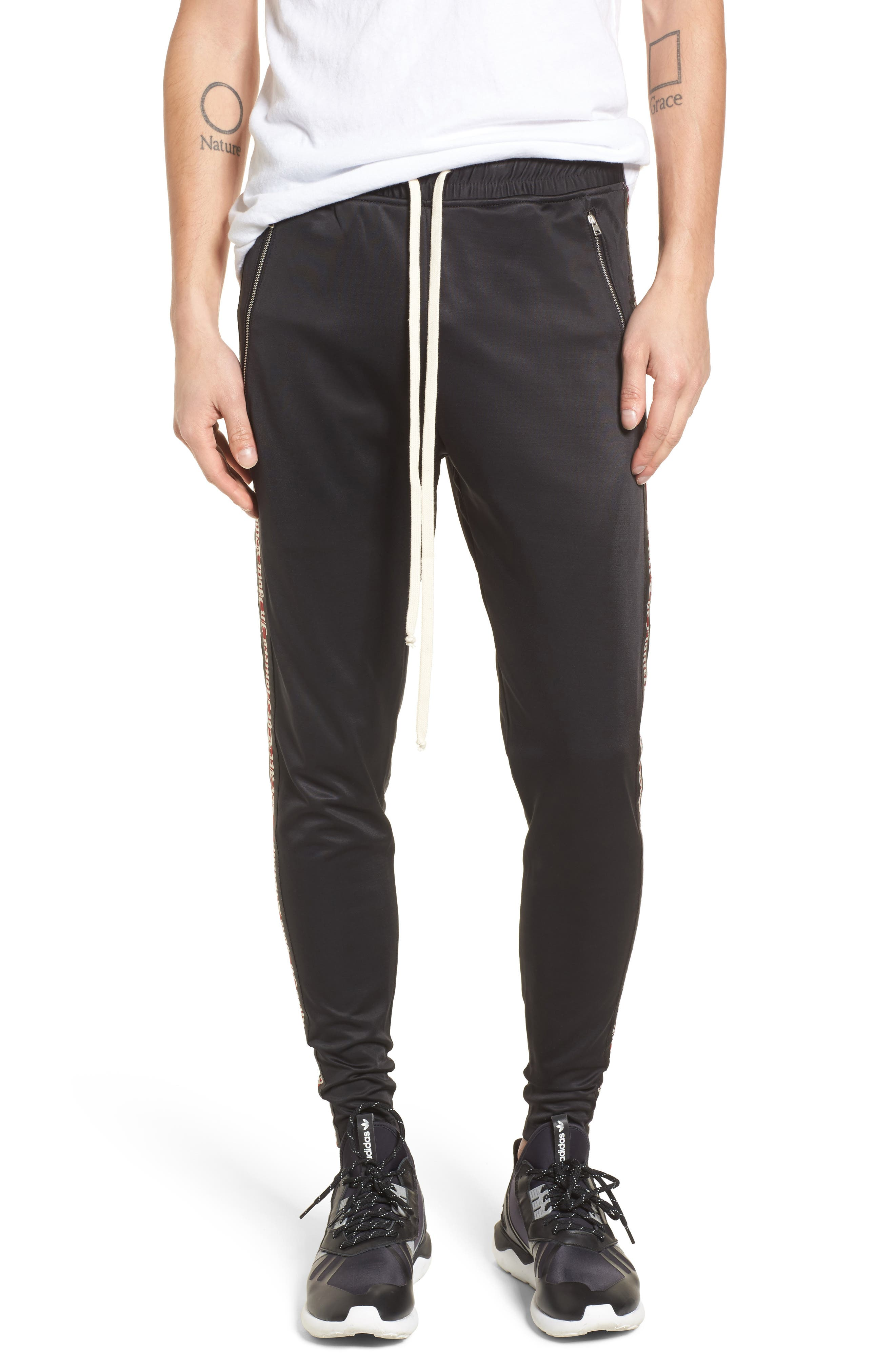 Slim Fit Track Pants,                             Main thumbnail 1, color,                             Black