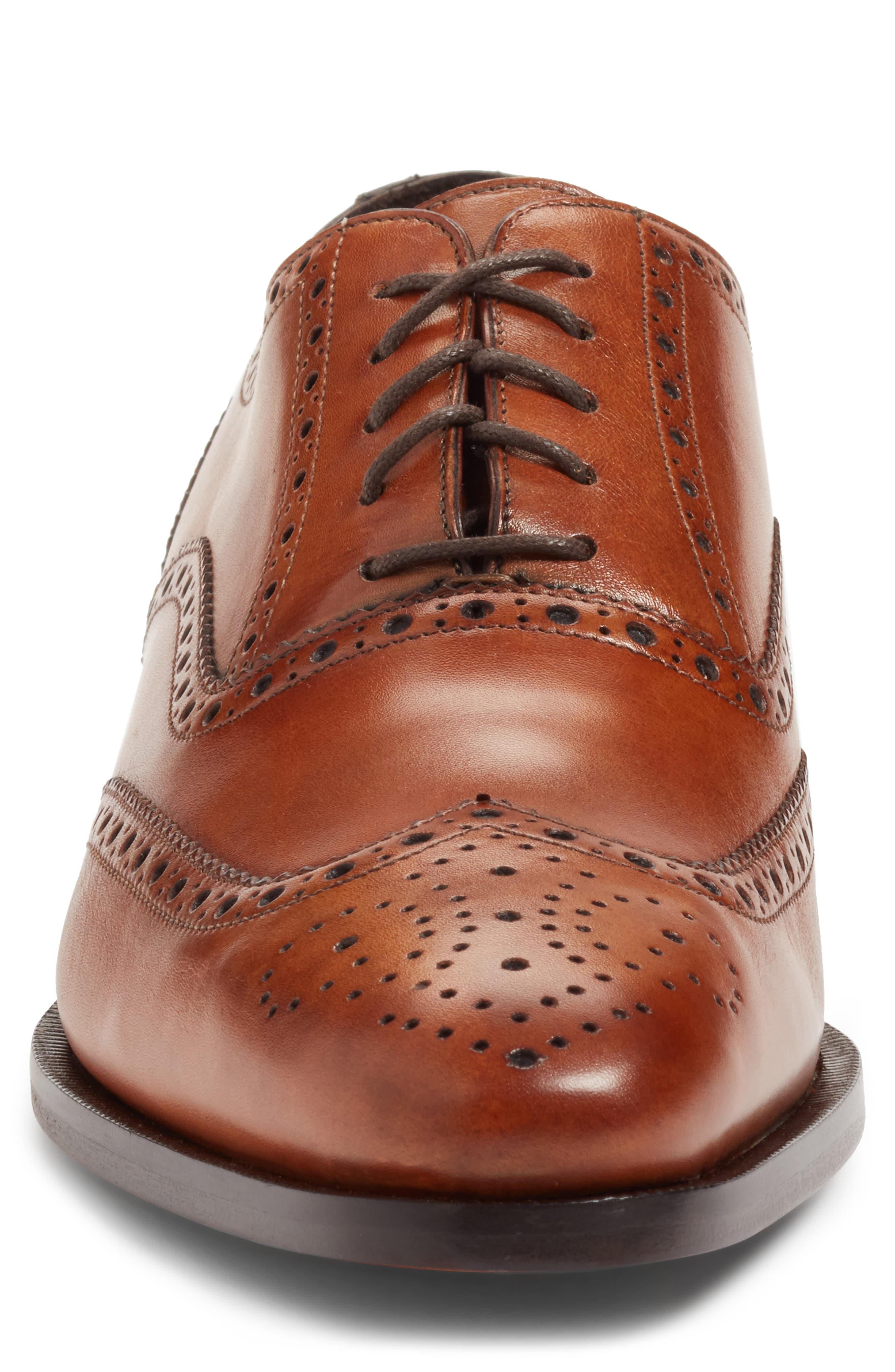 Ambler Wingtip,                             Alternate thumbnail 4, color,                             Cognac Leather
