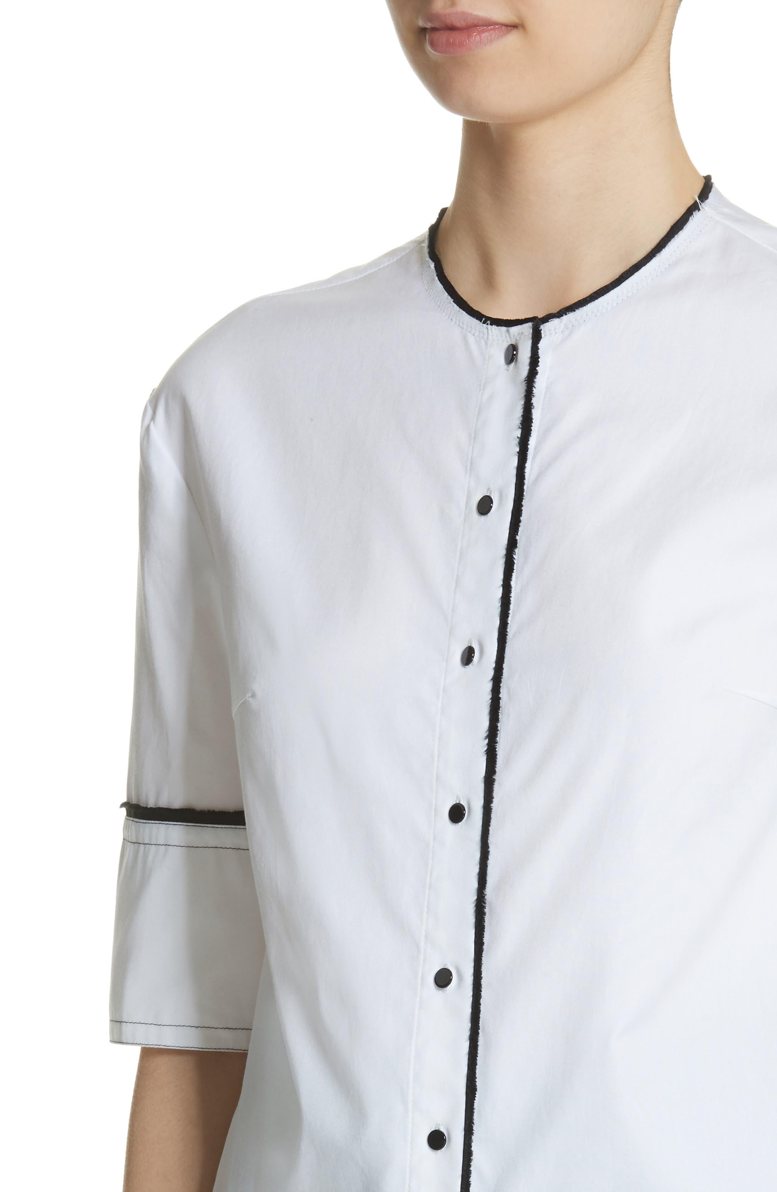 Crop Back Poplin Shirt,                             Alternate thumbnail 5, color,                             White
