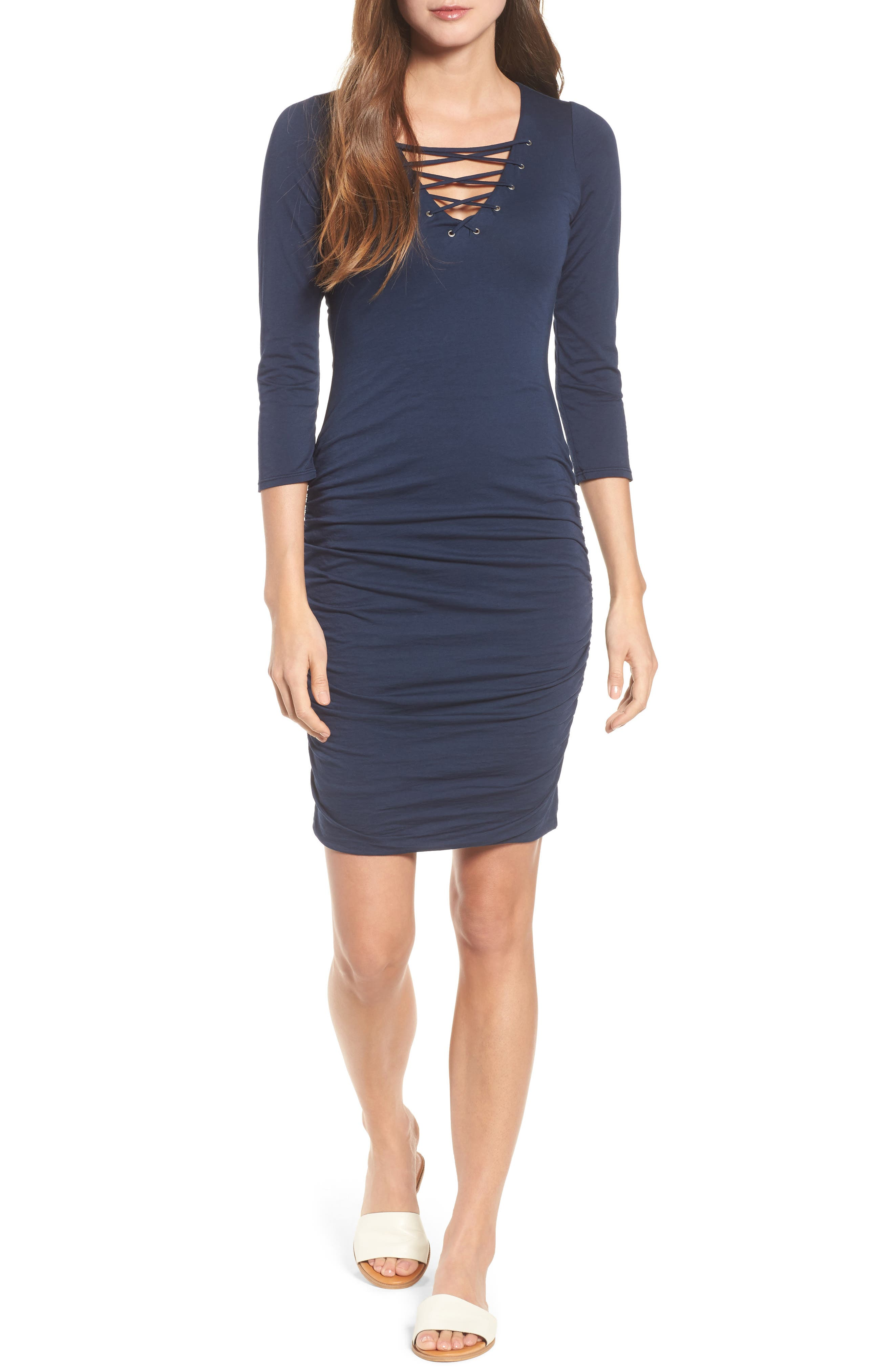 Whisper Lace-Up Body-Con Dress,                             Main thumbnail 1, color,                             Midnight