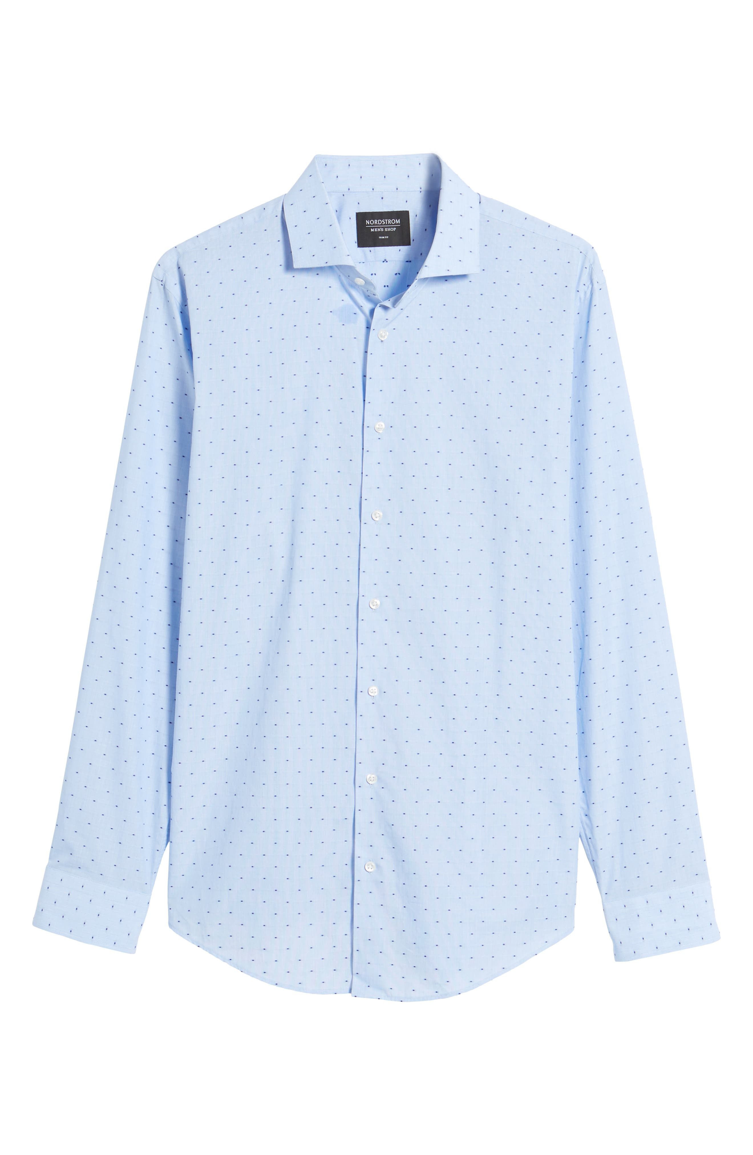 Trim Fit Dot Dress Shirt,                             Alternate thumbnail 6, color,                             Blue Hydrangea