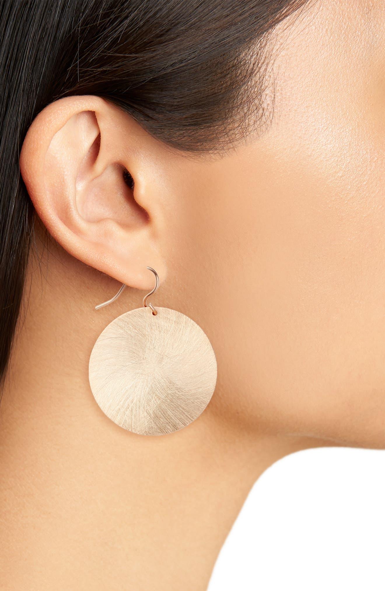 Alternate Image 2  - Halogen® Brushed Disc Drop Earrings