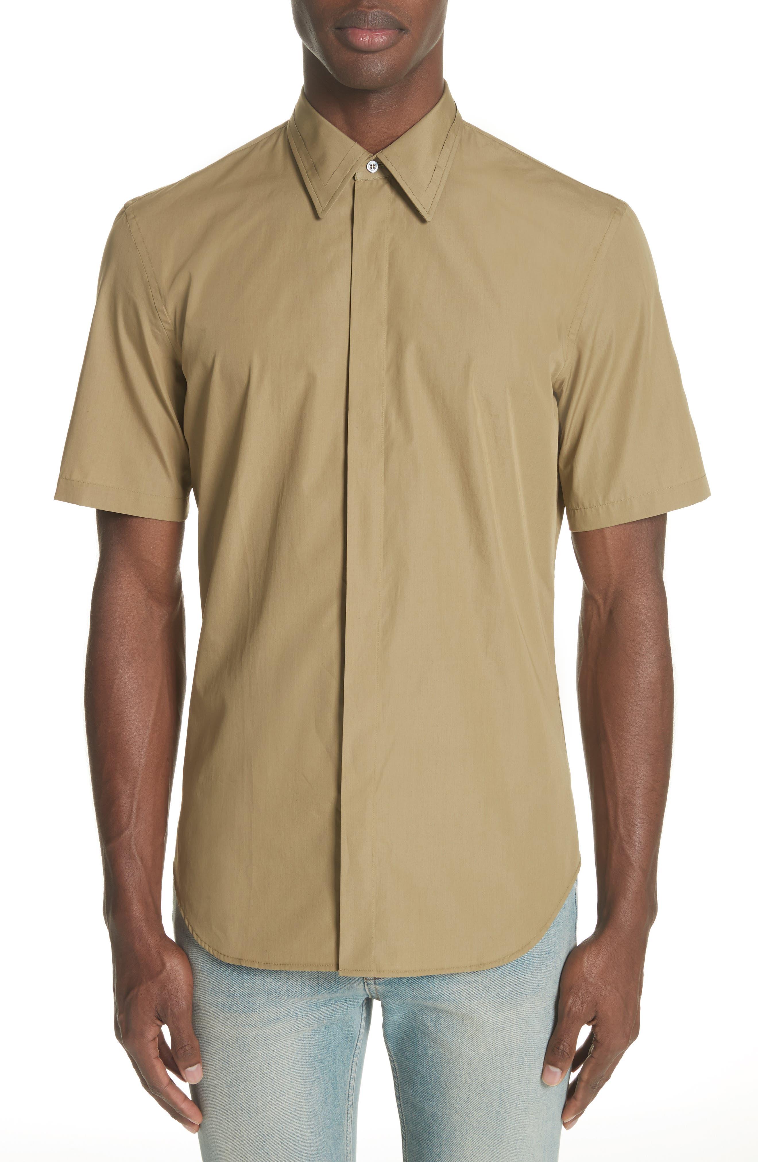 Poplin Short Sleeve Woven Shirt,                         Main,                         color, Olive