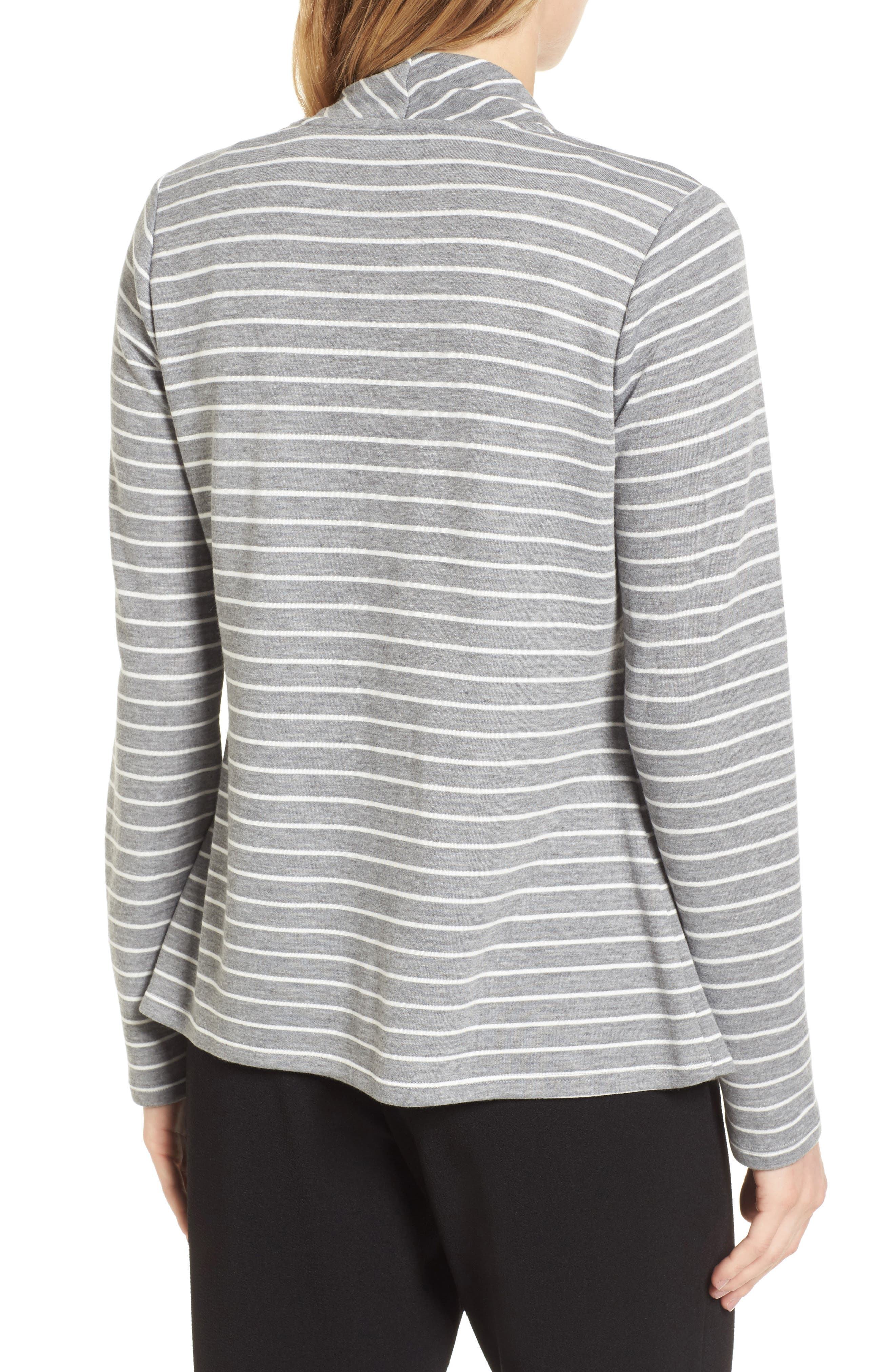 Mixed Stripe Cardigan,                             Alternate thumbnail 2, color,                             050-Grey Heather