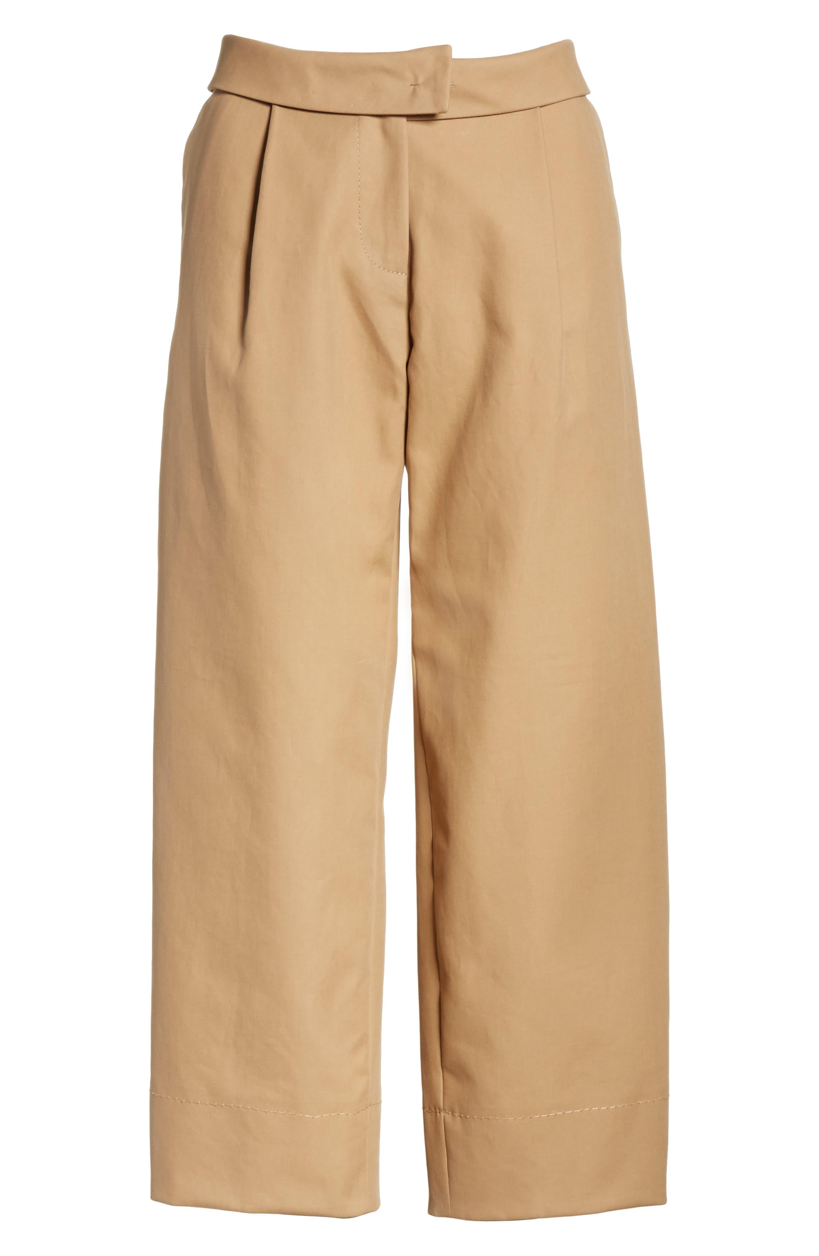 Cotton Crop Pants,                             Alternate thumbnail 5, color,                             Camel