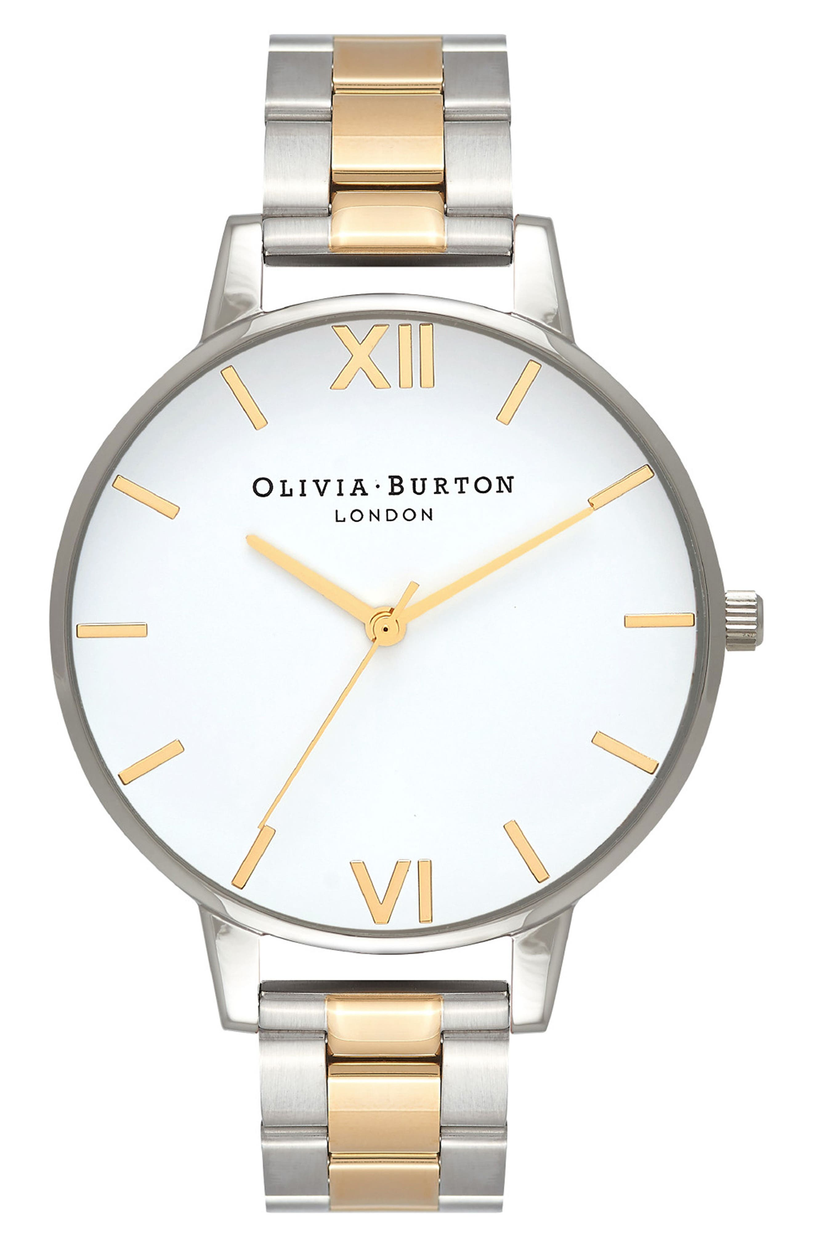 Big Dial Bracelet Watch, 38mm,                         Main,                         color, White