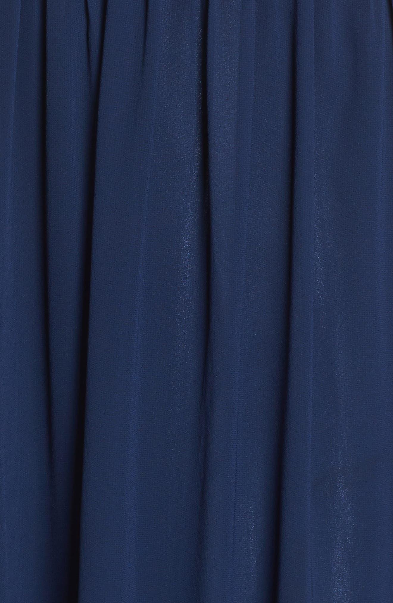 Appliqué Illusion Gown,                             Alternate thumbnail 5, color,                             Navy