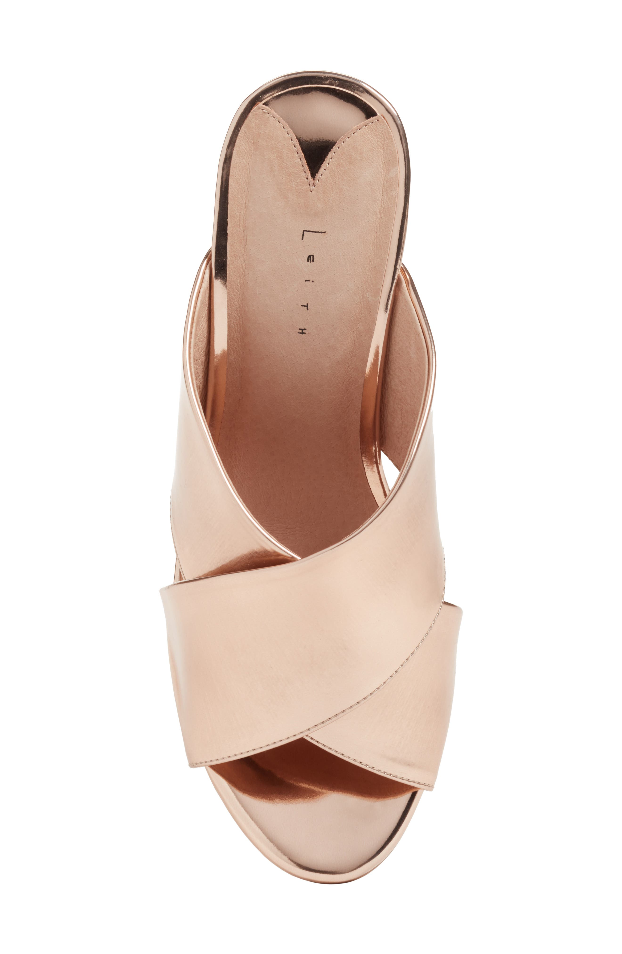 Cammie Block Heel Sandal,                             Alternate thumbnail 5, color,                             Rosegold Metallic Faux Leather