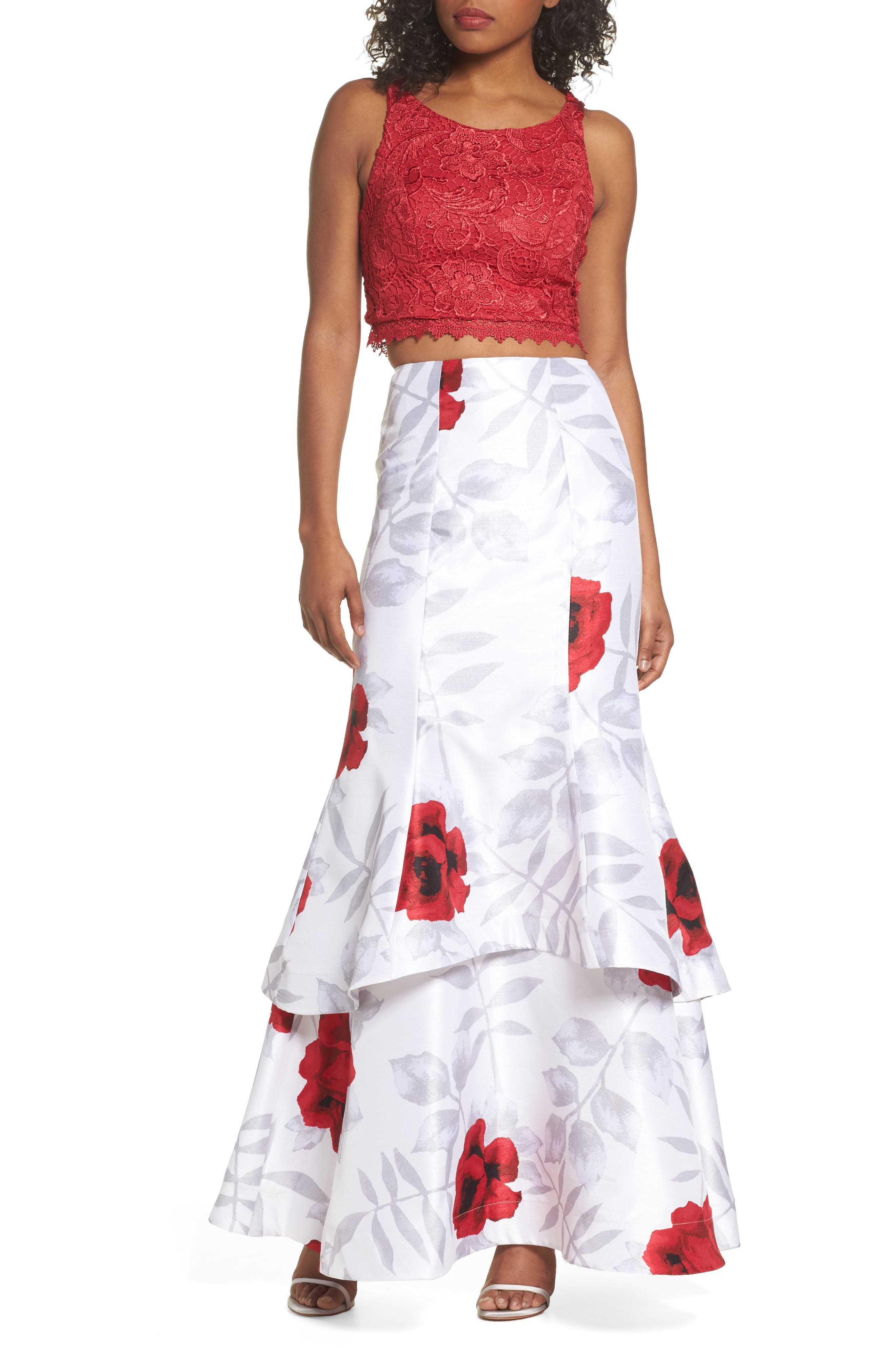 Lace & Print Shantung Two-Piece Gown,                         Main,                         color, Ivory/ Red