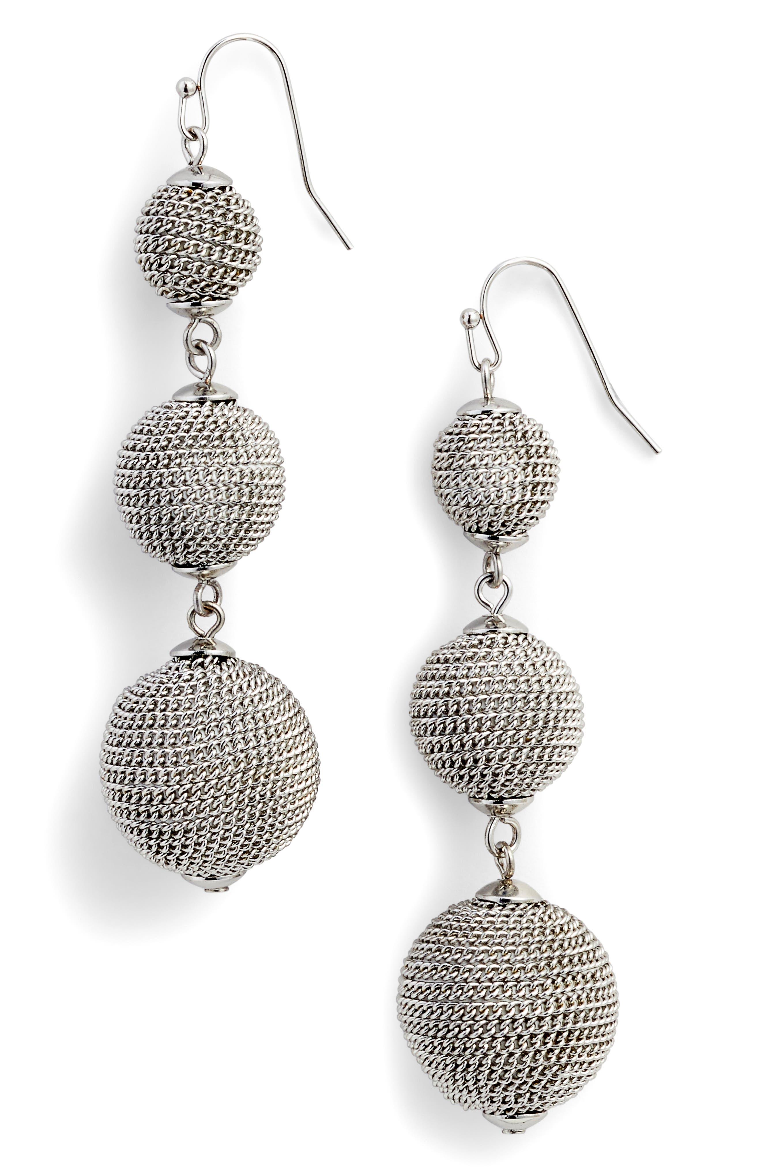 Chain Wrap Drop Earrings,                         Main,                         color, Rhodium