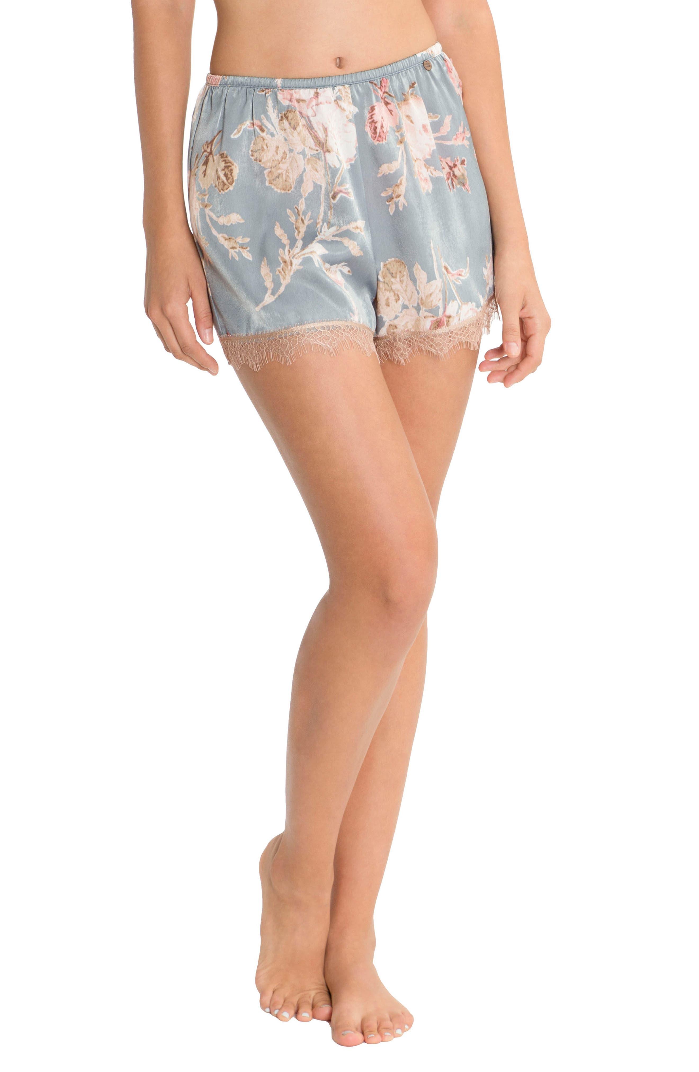 Satin Pajama Shorts,                         Main,                         color, Rose Print