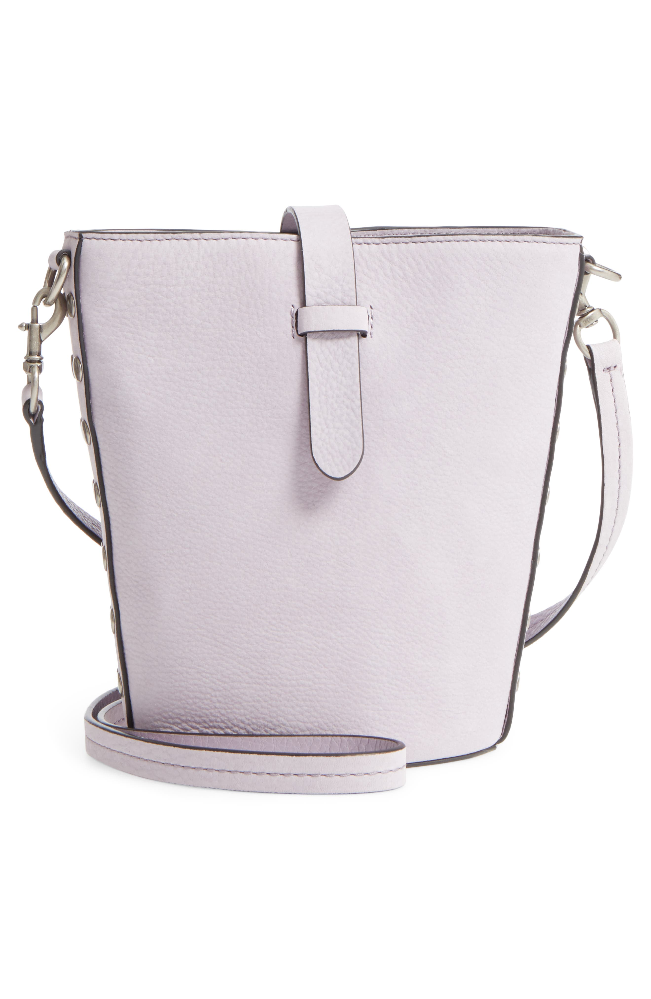 Slim Leather Bucket Bag,                             Alternate thumbnail 5, color,                             Violino