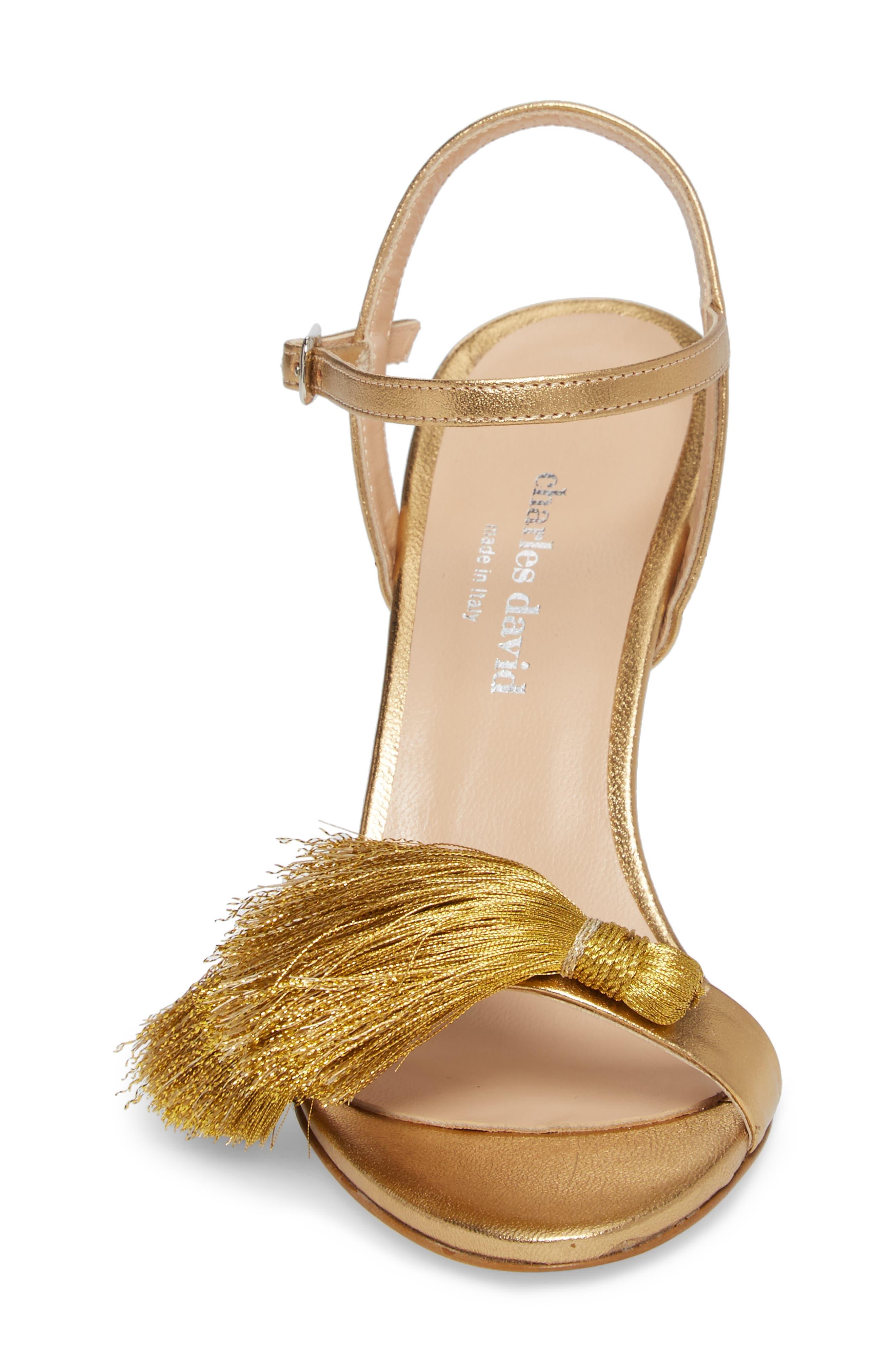 Sassy Tassel Sandal,                             Alternate thumbnail 4, color,                             Gold Leather