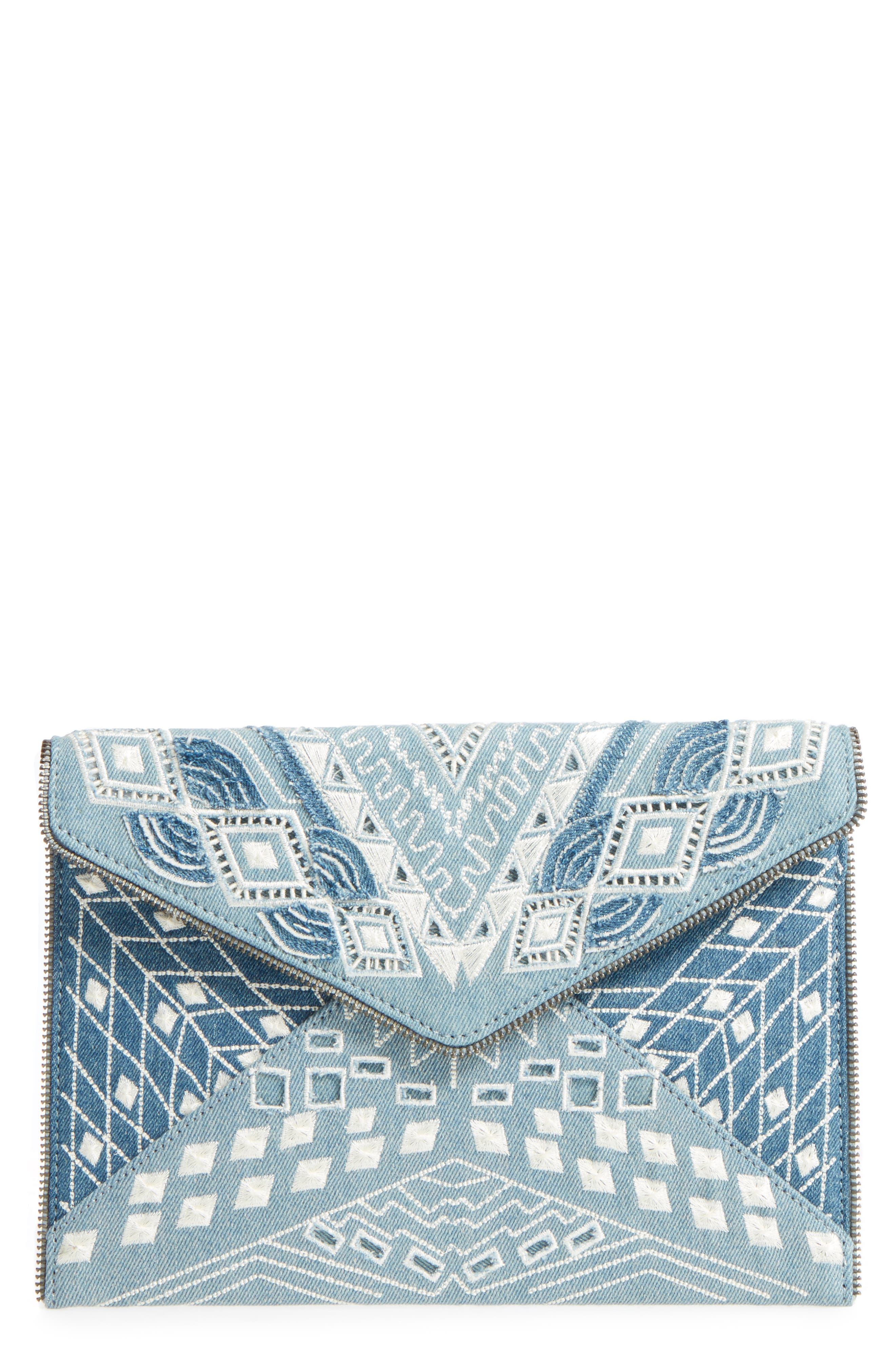 Leo Embroidered Denim Clutch,                             Main thumbnail 1, color,                             Light Denim
