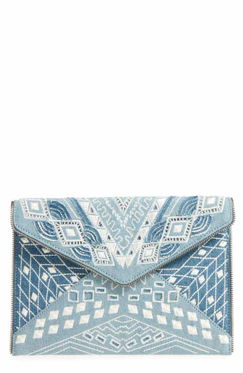 Rebecca Minkoff Leo Embroidered Denim Clutch