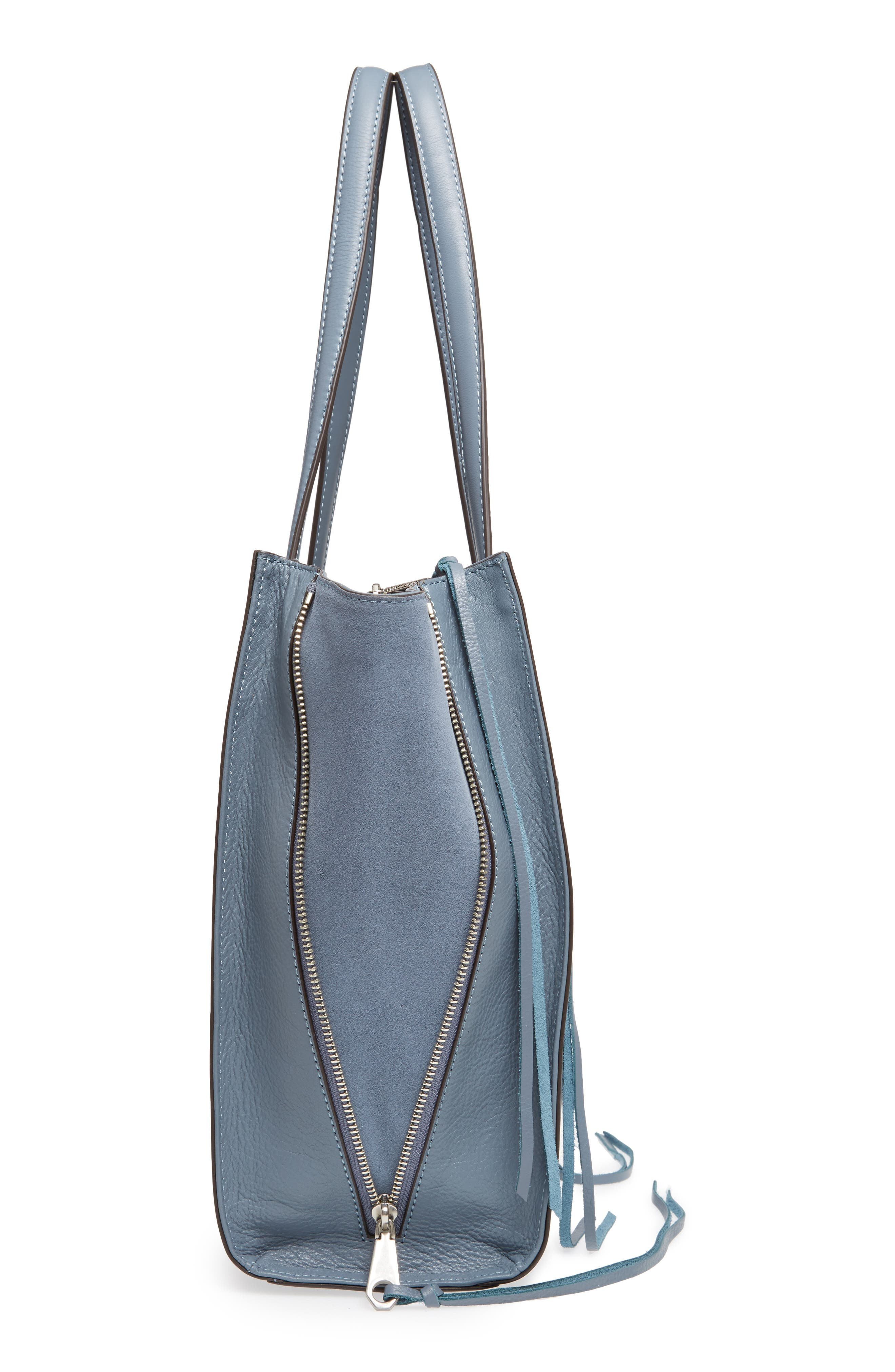 Always On Regan Leather Tote,                             Alternate thumbnail 5, color,                             Dusty Blue