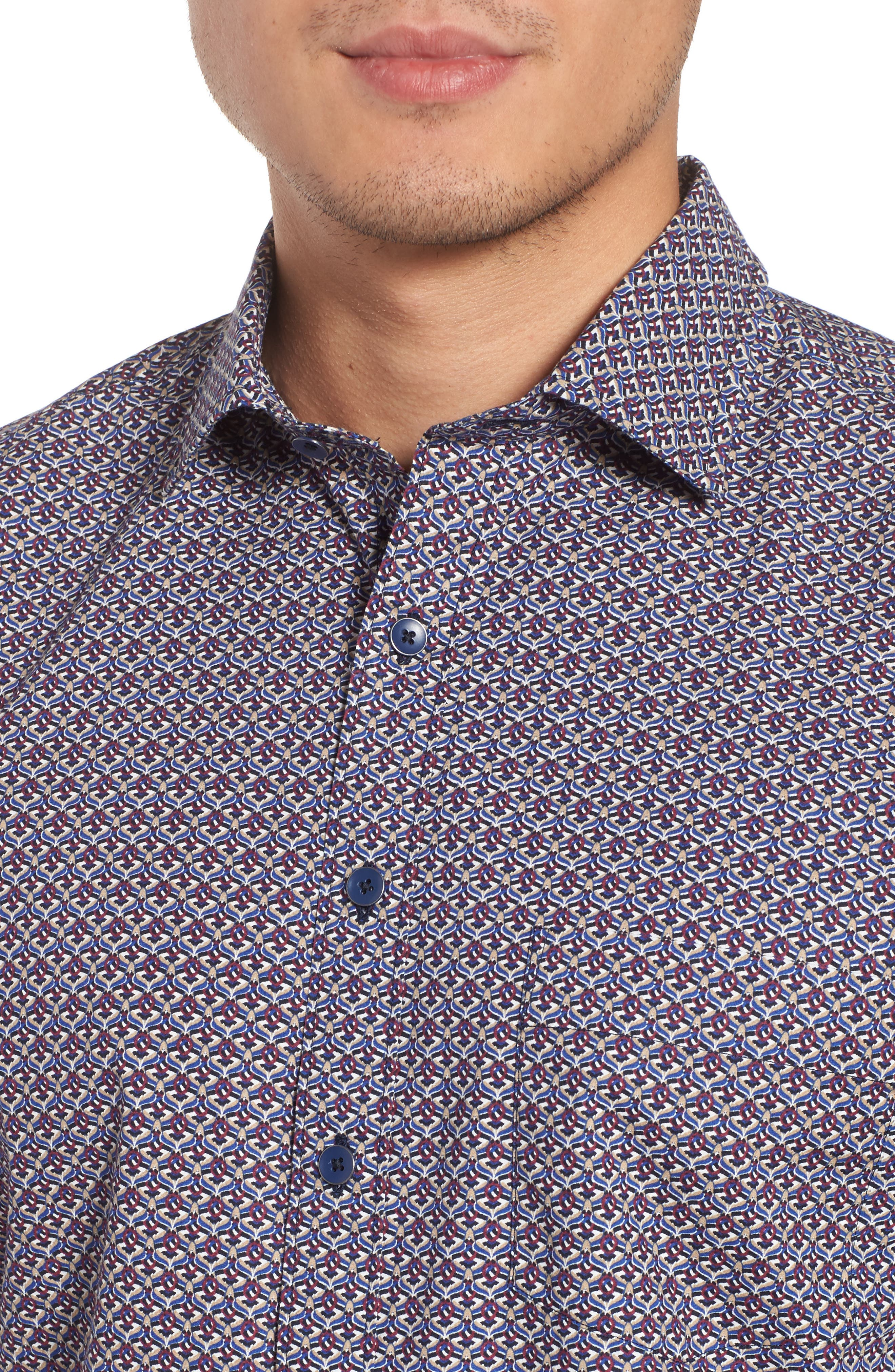 Fenton Park Regular Fit Sport Shirt,                             Alternate thumbnail 4, color,                             Royal