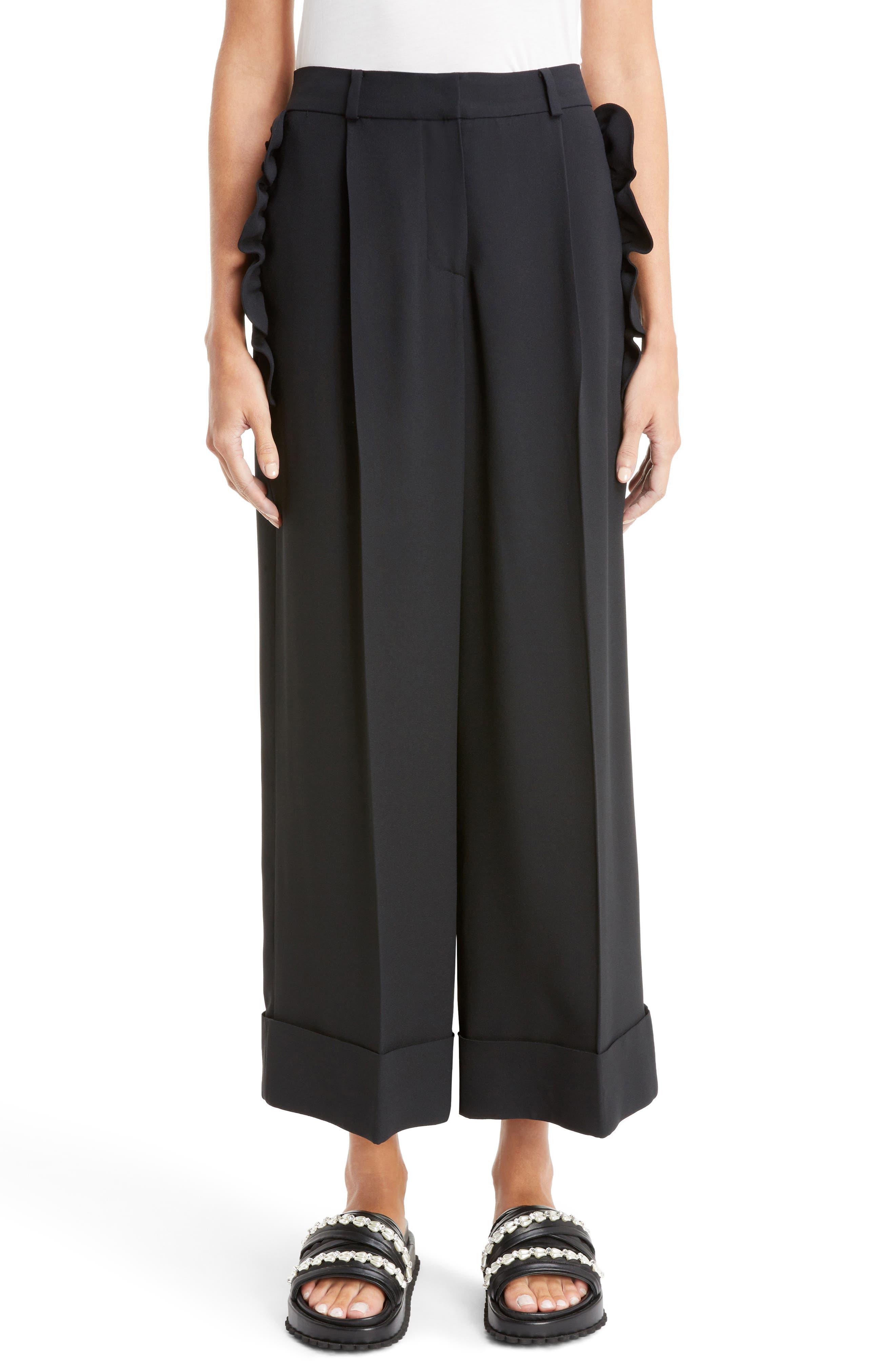 Ruffle Pocket Wide Leg Crop Pants,                         Main,                         color, Black