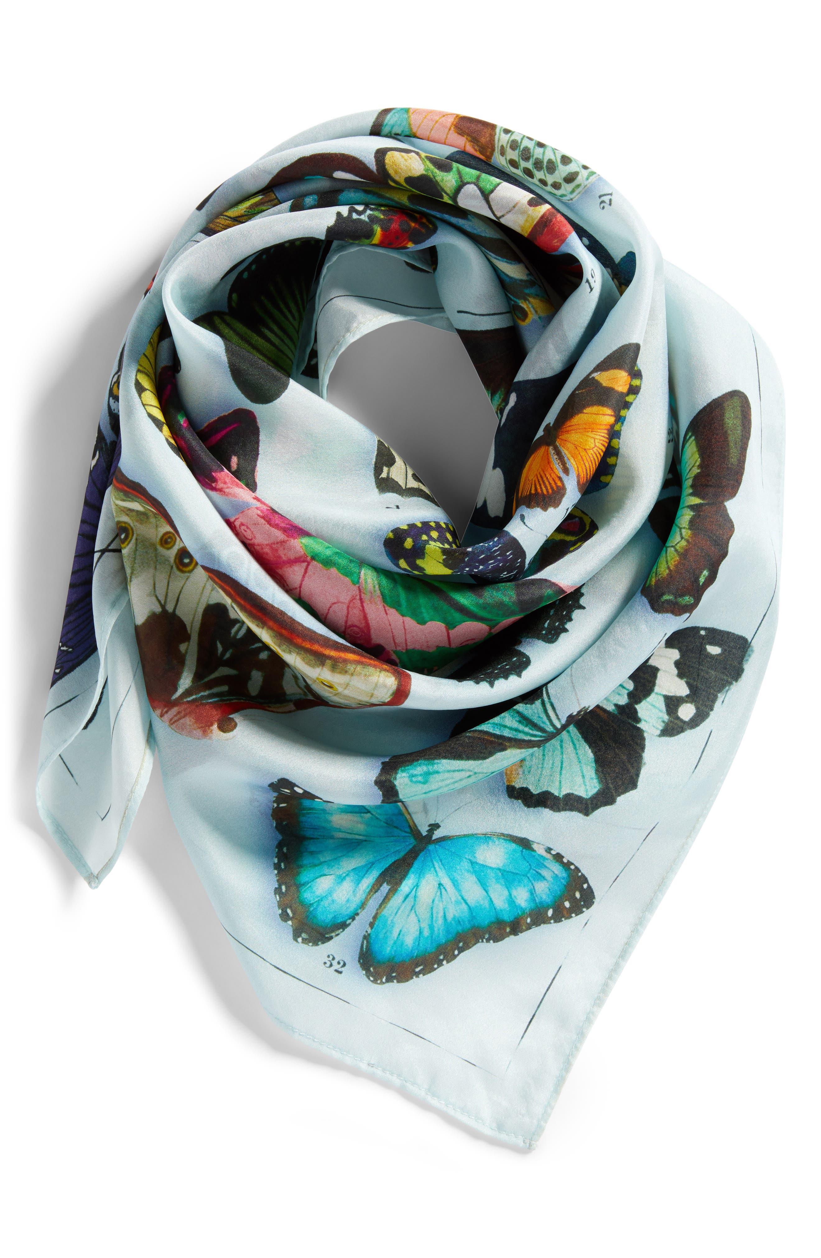 Print Silk Scarf,                             Alternate thumbnail 3, color,                             Blue Butterfly Beauty Print