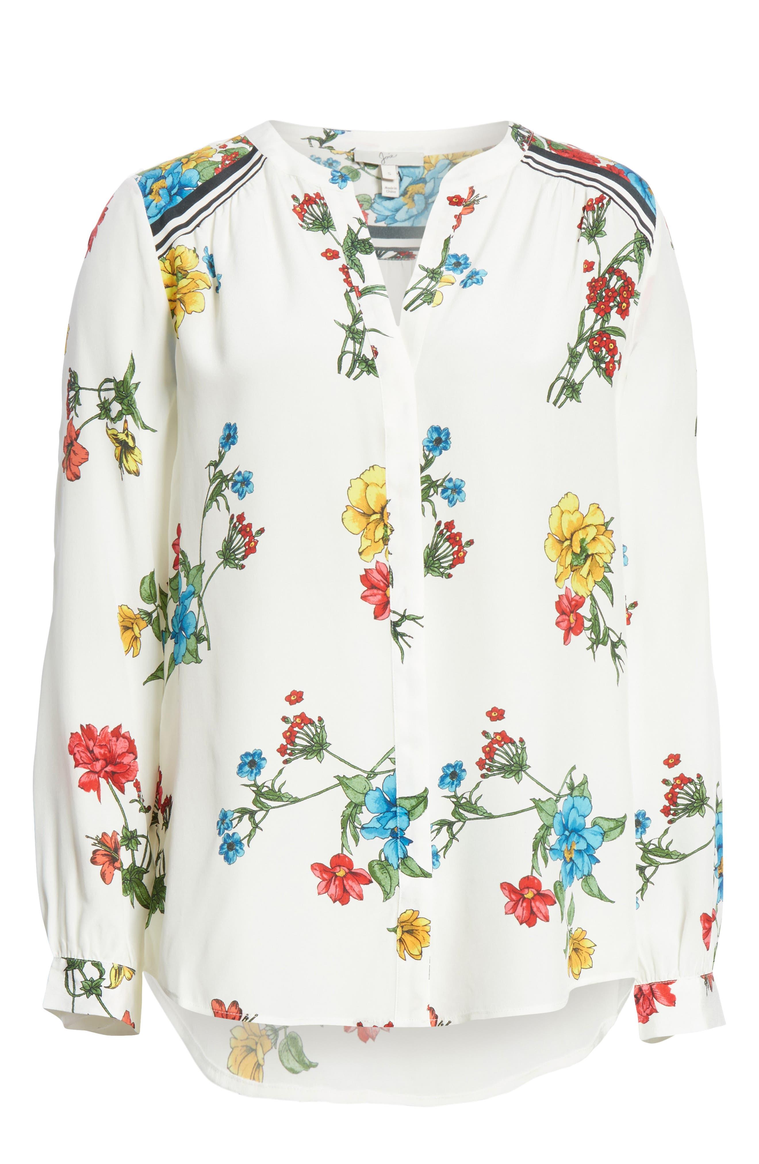Yaritza B Floral Silk Top,                             Alternate thumbnail 6, color,                             Porcelain