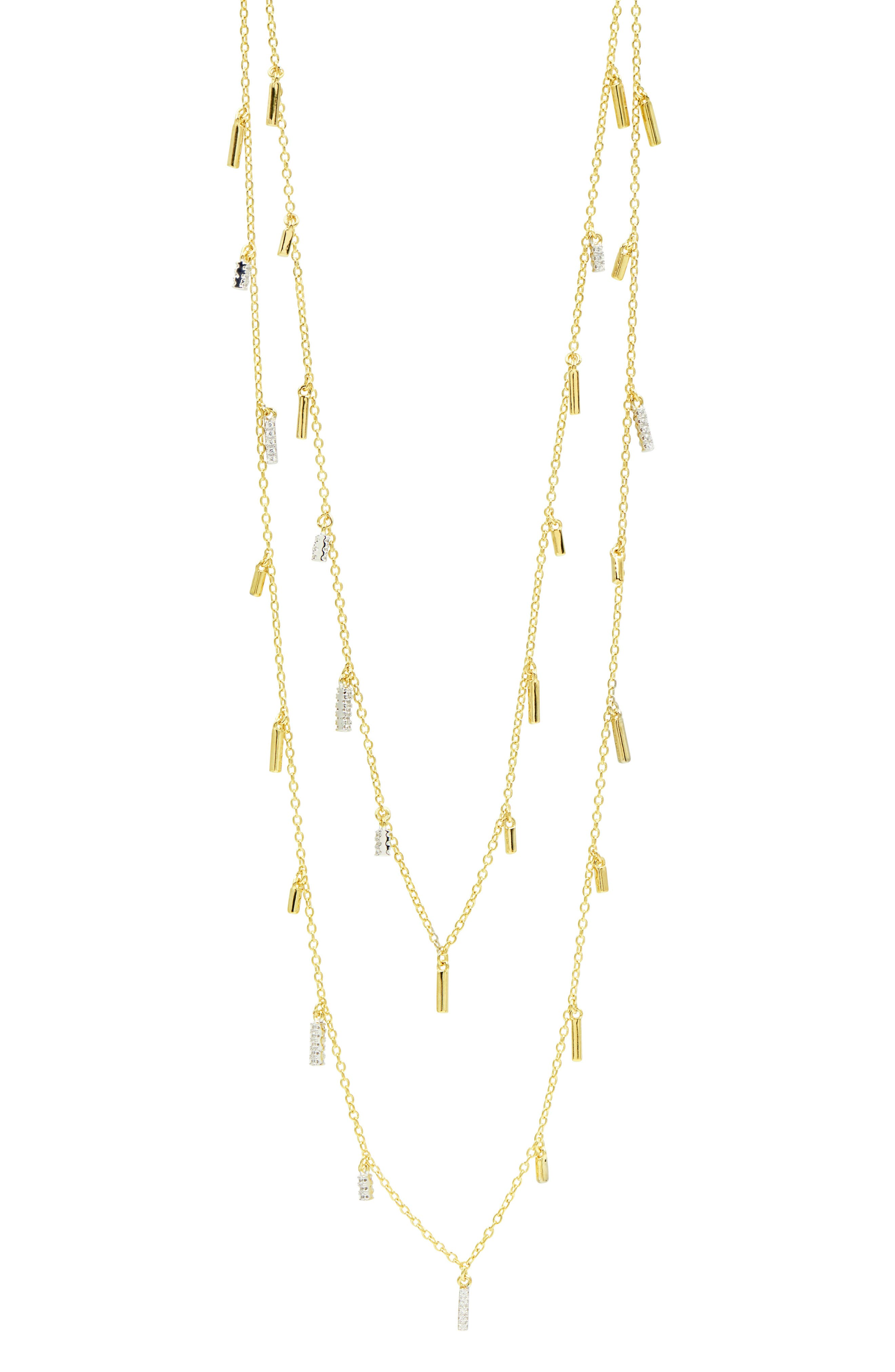Radiance Droplet Cubic Zirconia Station Necklace,                         Main,                         color, Silver/ Gold