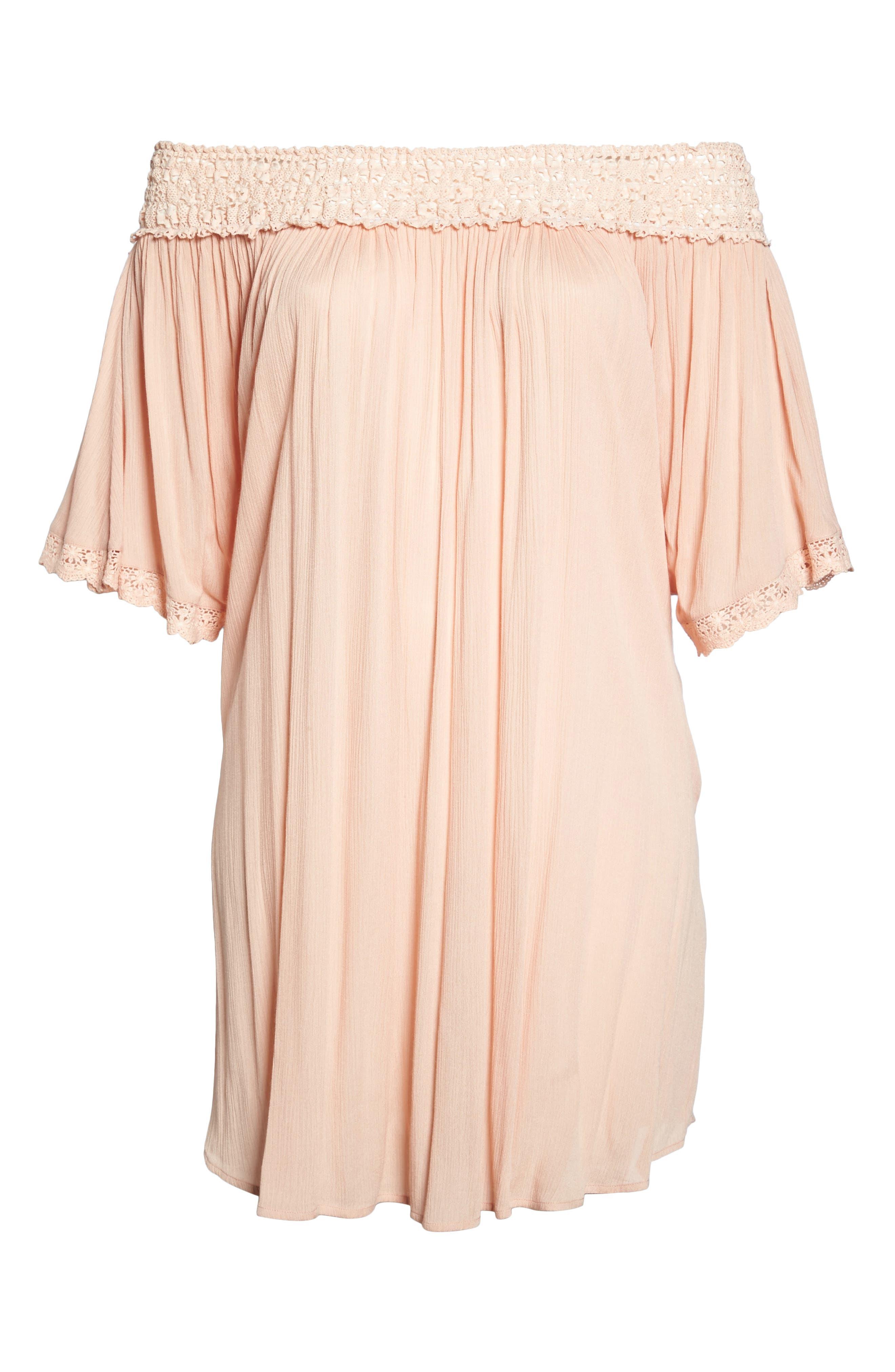 Rimini Crochet Cover-Up Dress,                             Alternate thumbnail 6, color,                             Pink