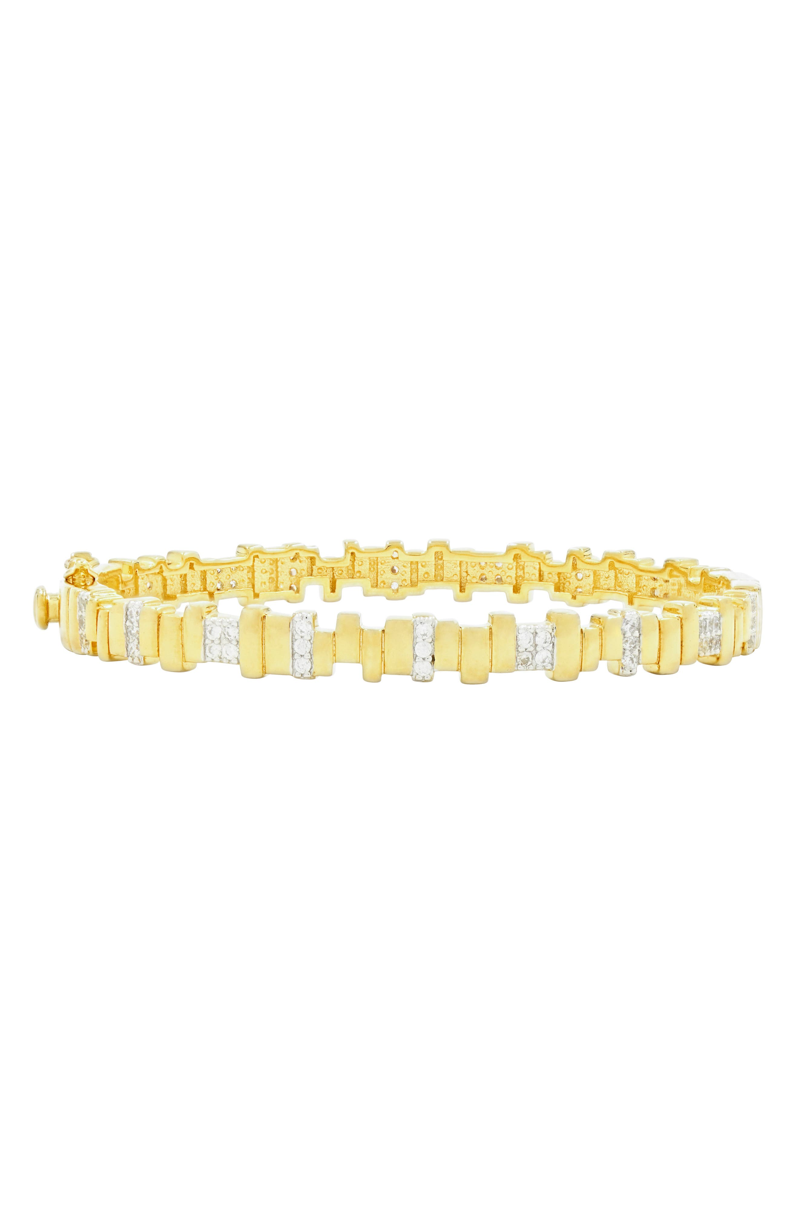 Radiance Cubic Zirconia Bangle,                             Main thumbnail 1, color,                             Silver/ Gold