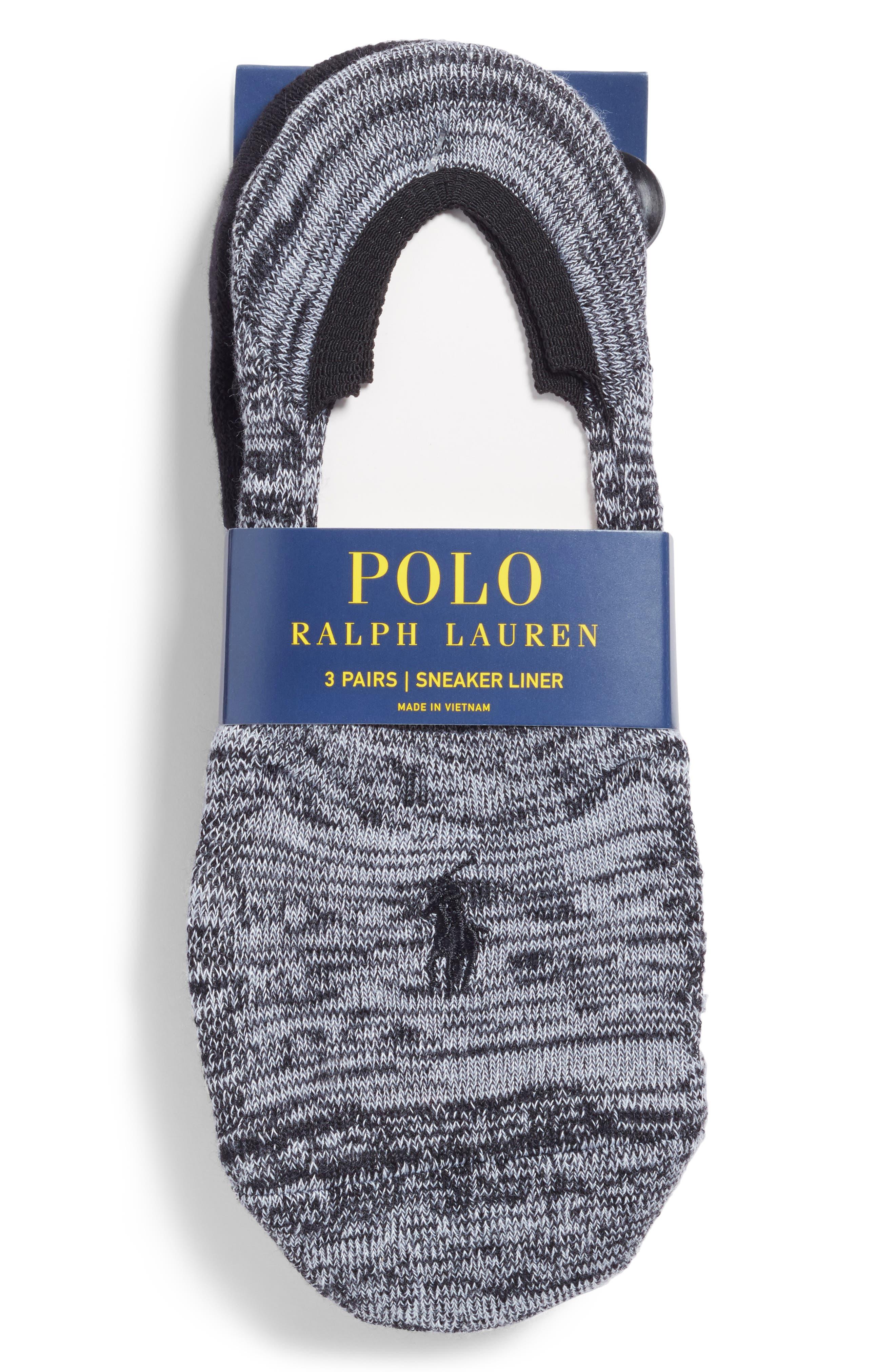 3-Pack Marled Sneaker Liner Socks,                             Alternate thumbnail 3, color,                             Blkwh