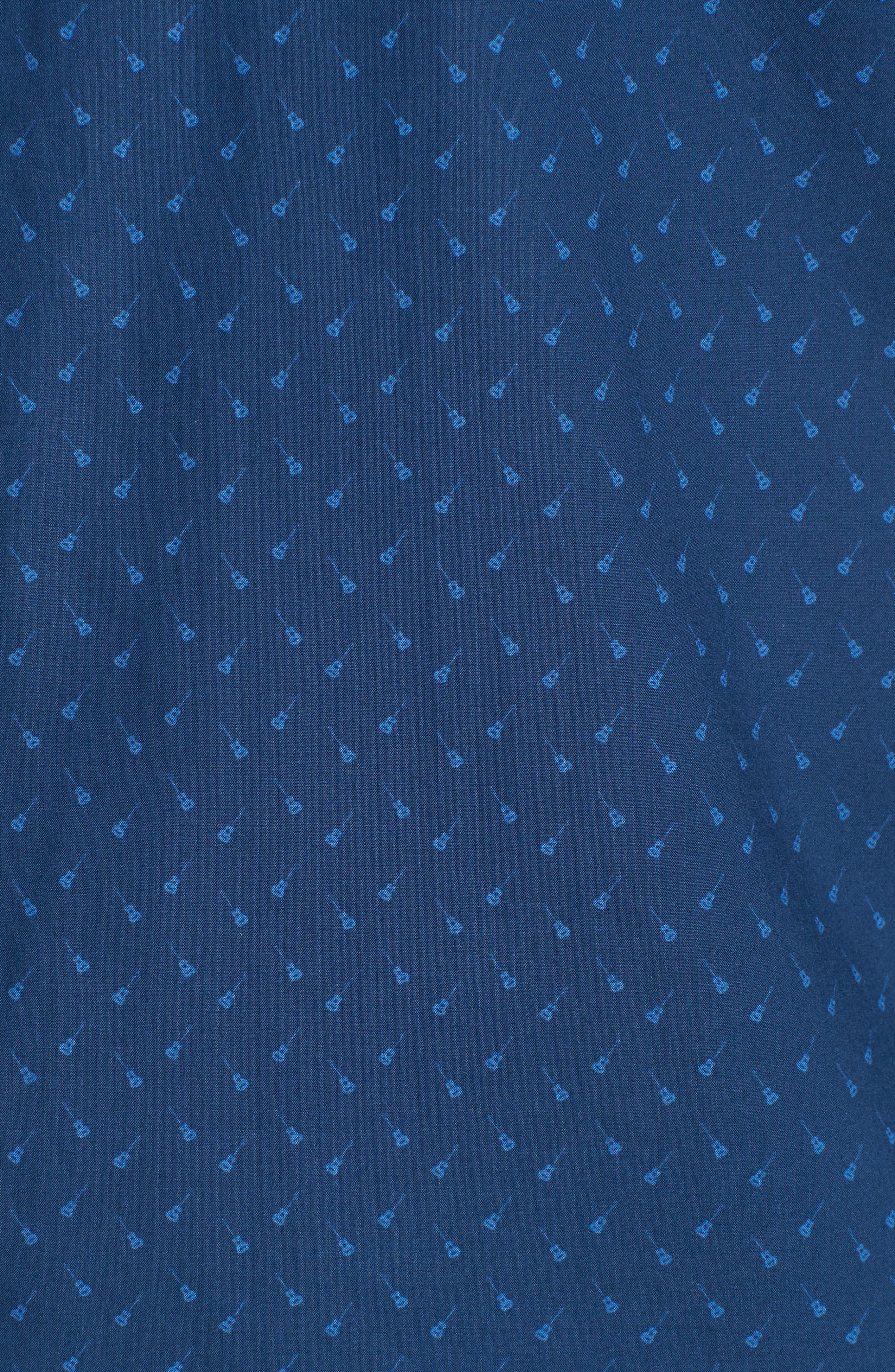 Shelton Slim Fit Guitar Print Sport Shirt,                             Alternate thumbnail 5, color,                             Dark Blue