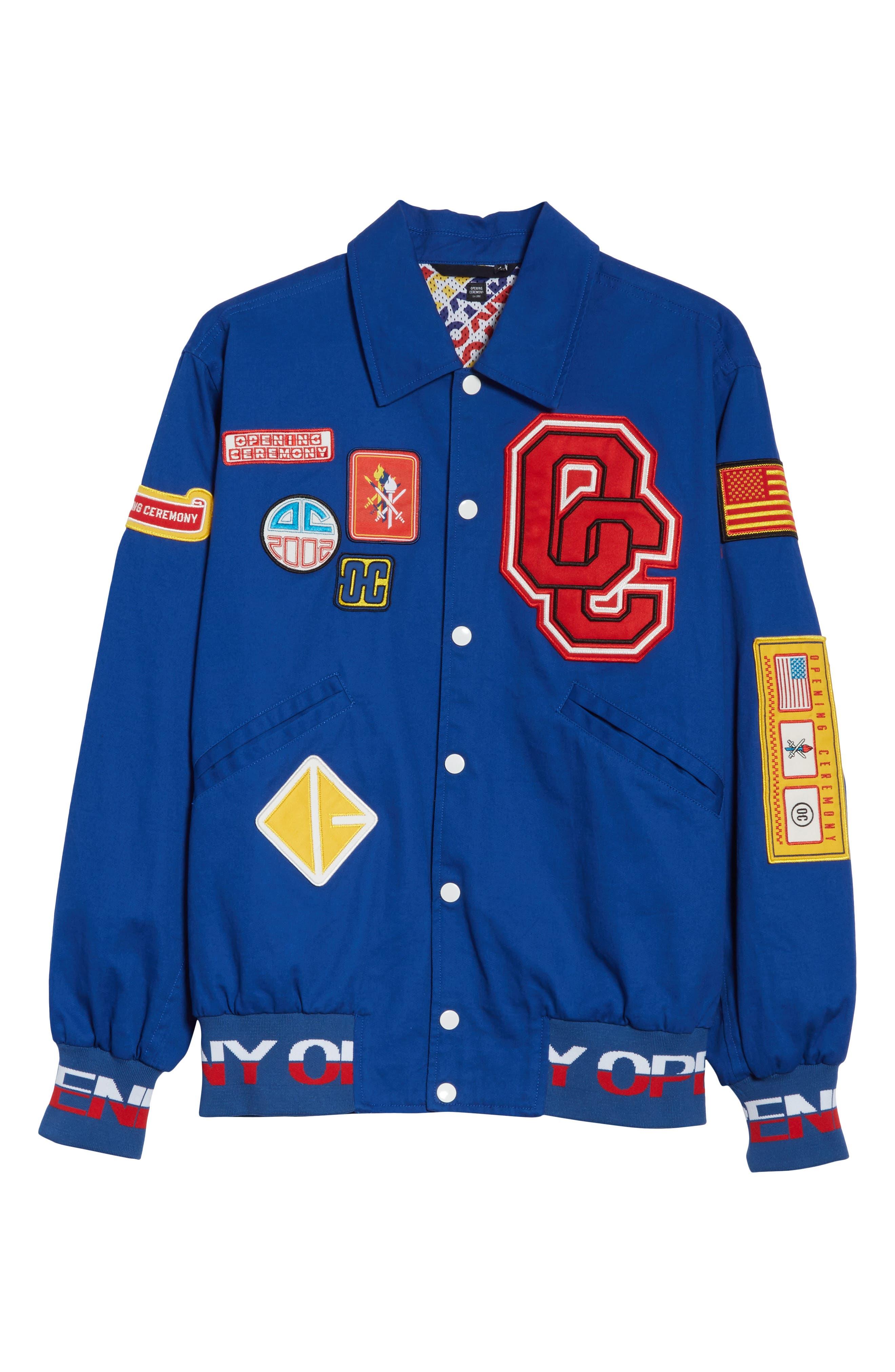 Patch Varsity Jacket,                             Alternate thumbnail 7, color,                             Railroad Blue