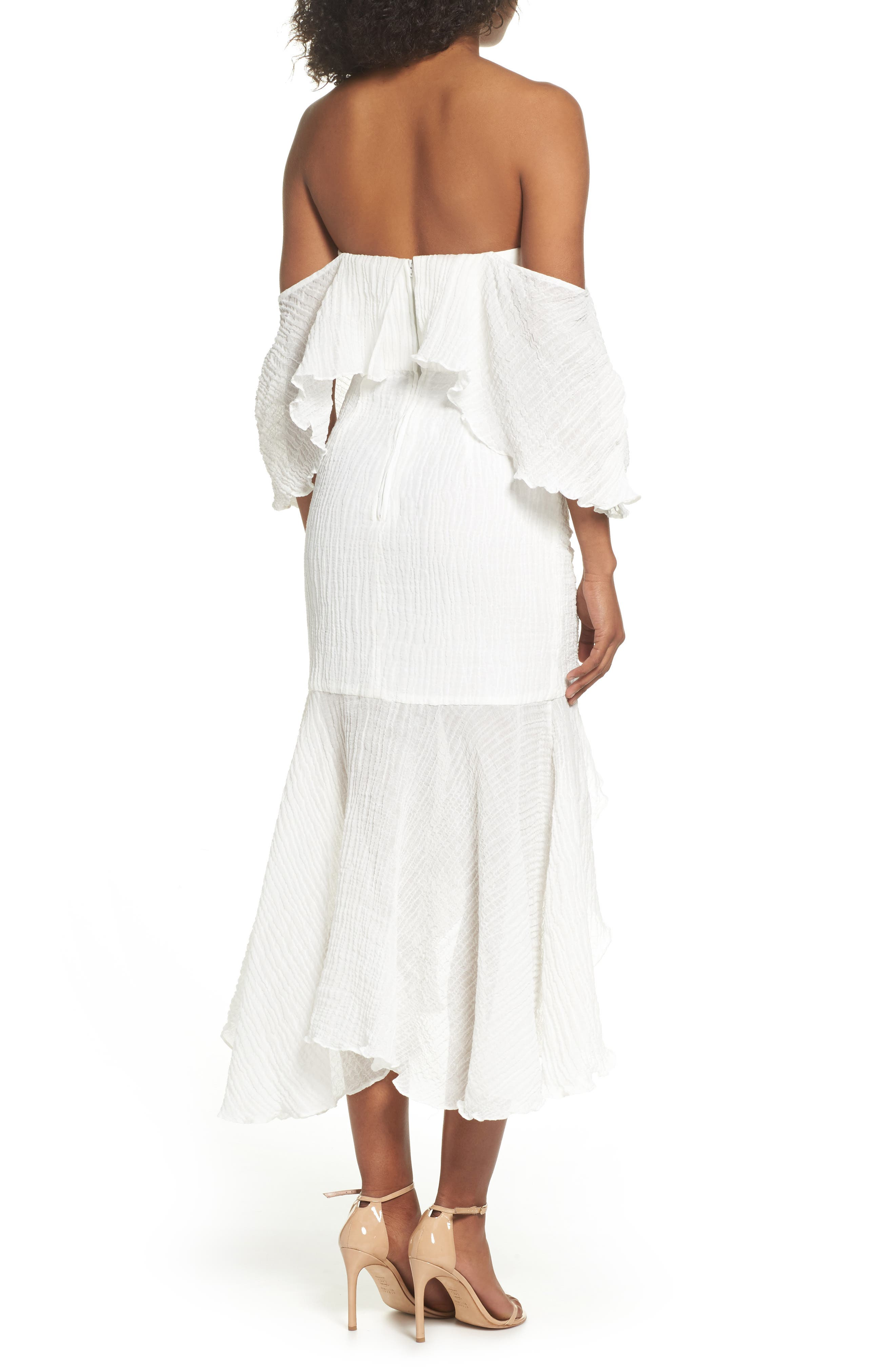 Sacrifices Ruched Off the Shoulder Dress,                             Alternate thumbnail 3, color,                             Ivory