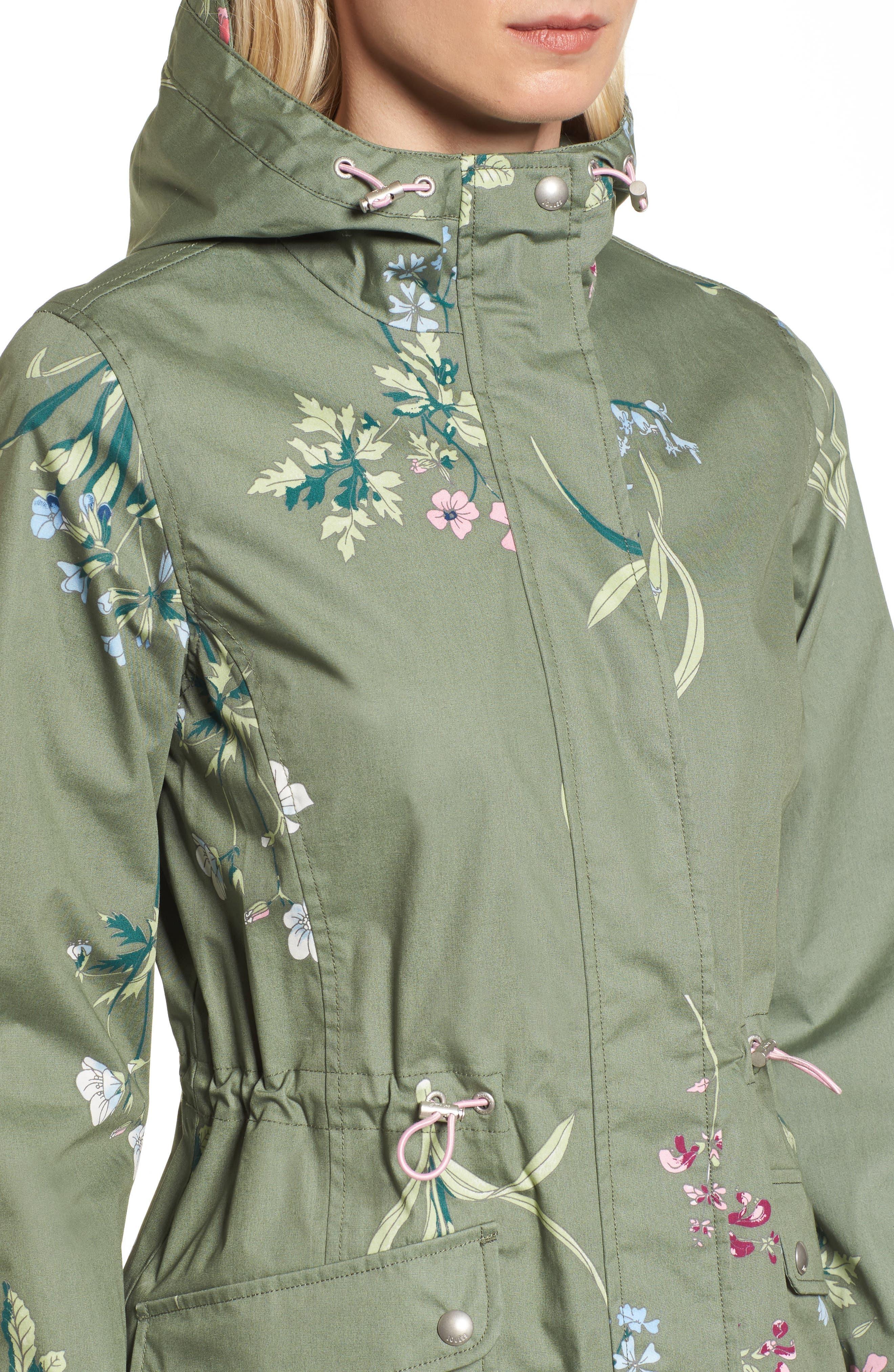 Right as Rain - Coastline Waterproof Cotton Jacket,                             Alternate thumbnail 4, color,                             Laurel Botanical