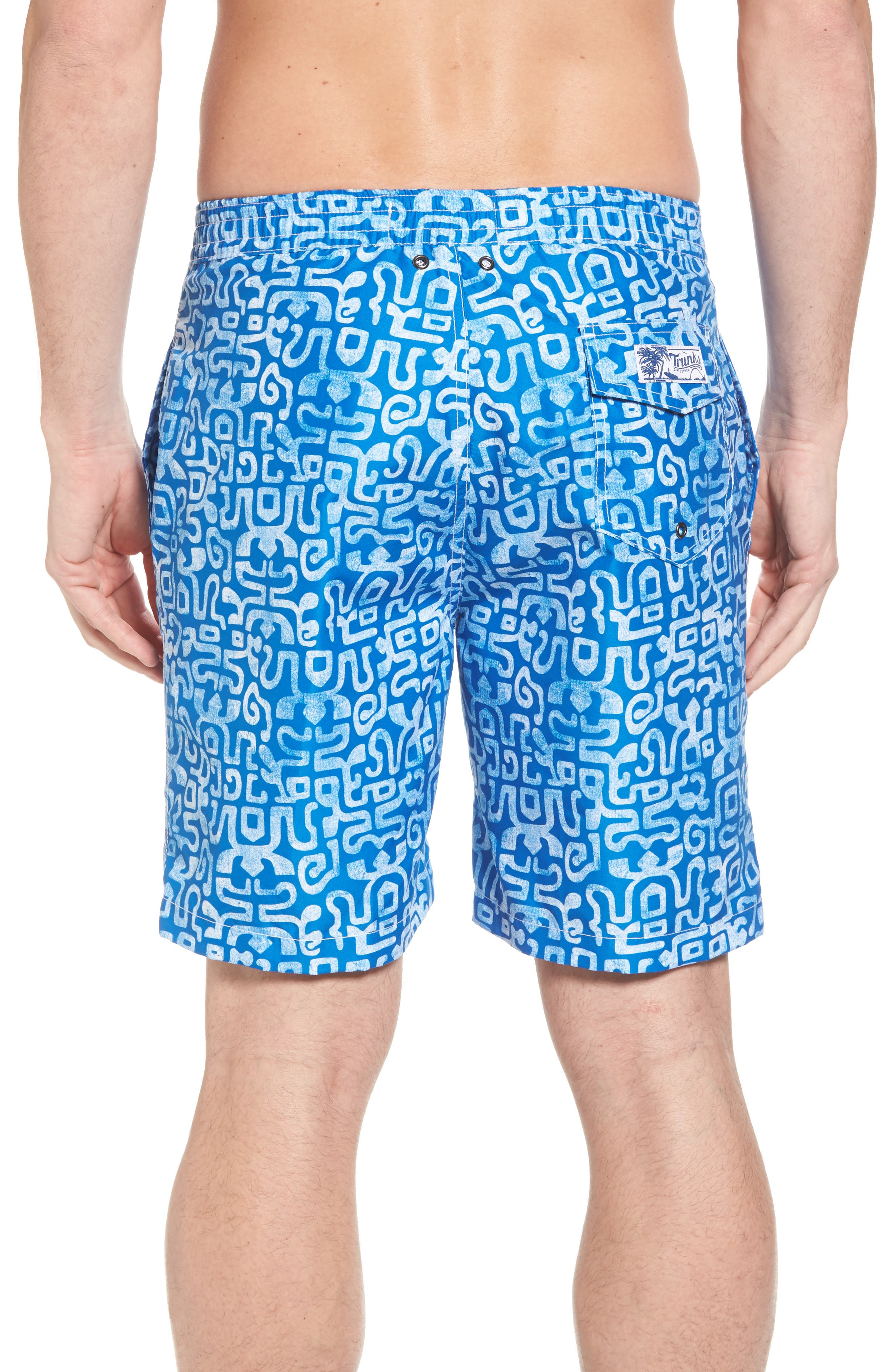 Trunks Swim & Surf CO. Swami Geo Print Board Shorts,                             Alternate thumbnail 2, color,                             Nautical Blue/ White