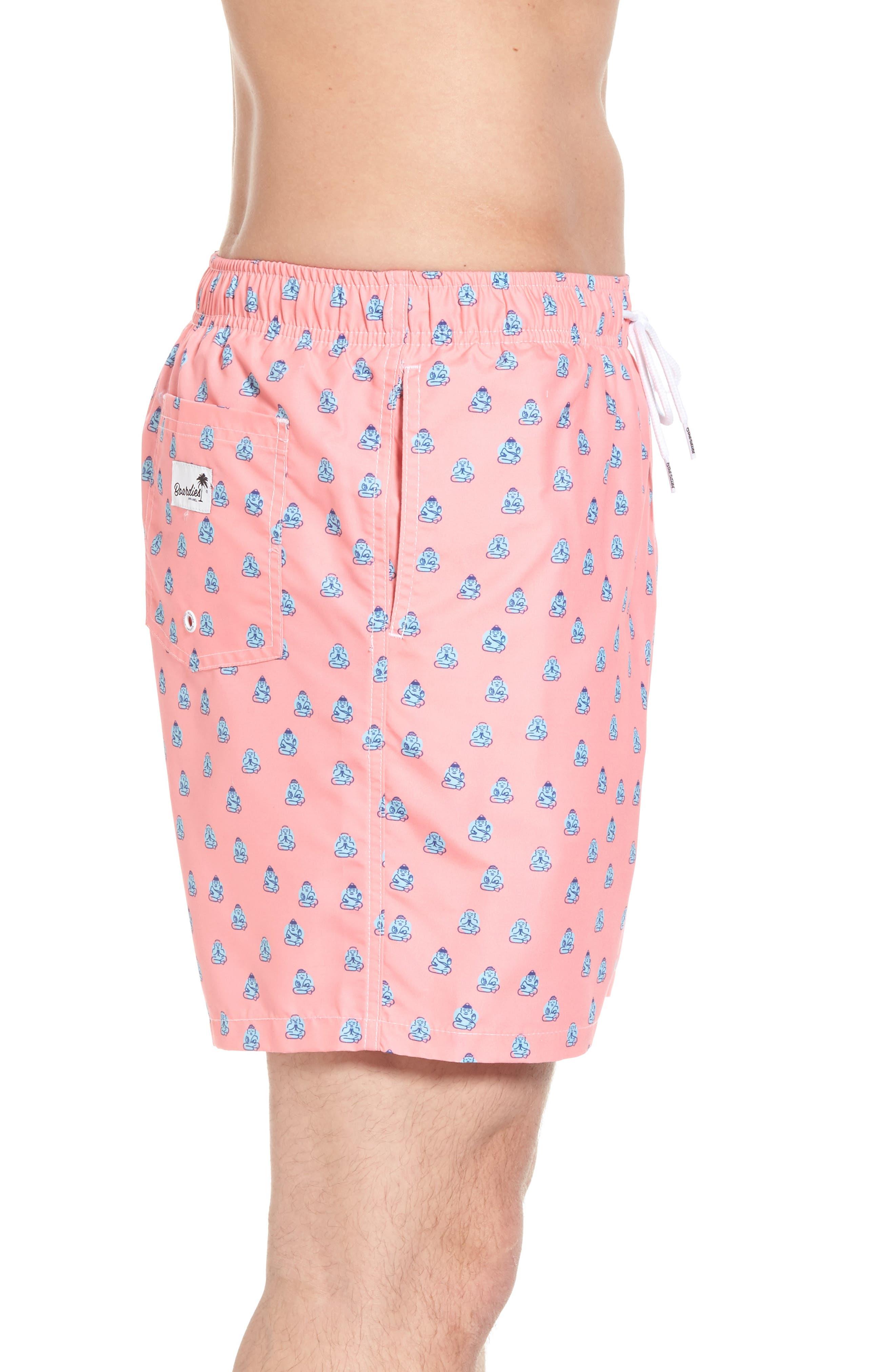 Polka Zen Swim Shorts,                             Alternate thumbnail 3, color,                             Pink