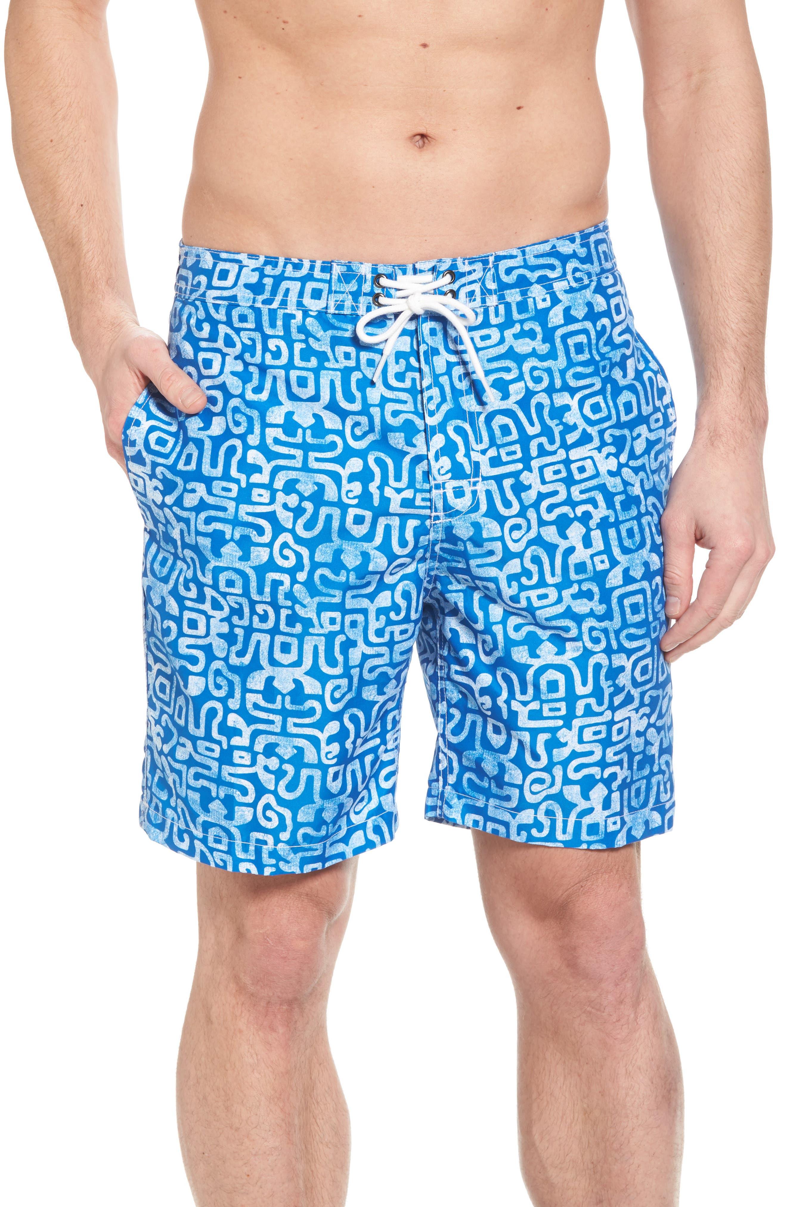 Trunks Swim & Surf CO. Swami Geo Print Board Shorts,                             Main thumbnail 1, color,                             Nautical Blue/ White