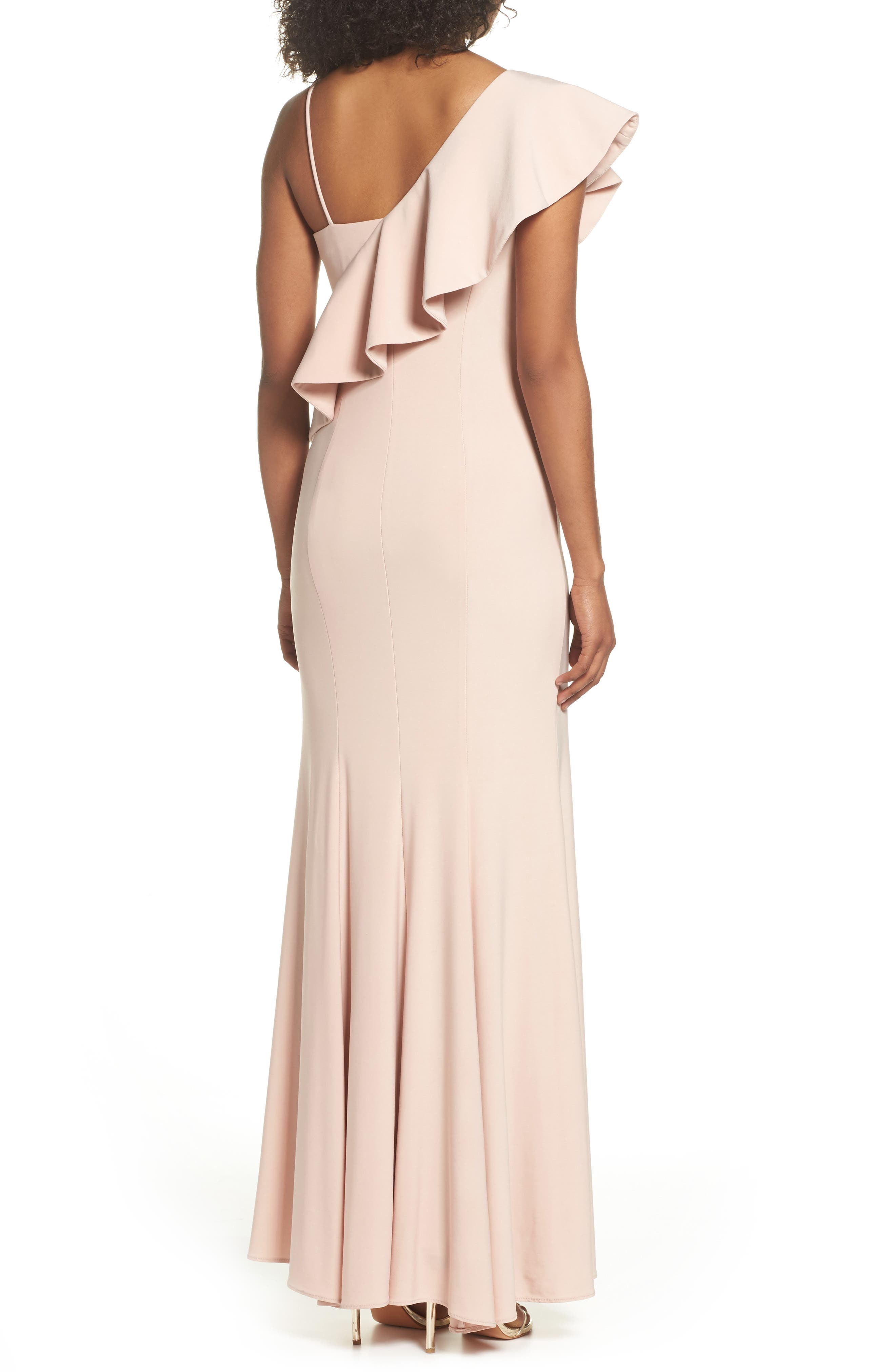 Ruffle Knit One-Shoulder Gown,                             Alternate thumbnail 2, color,                             Blush
