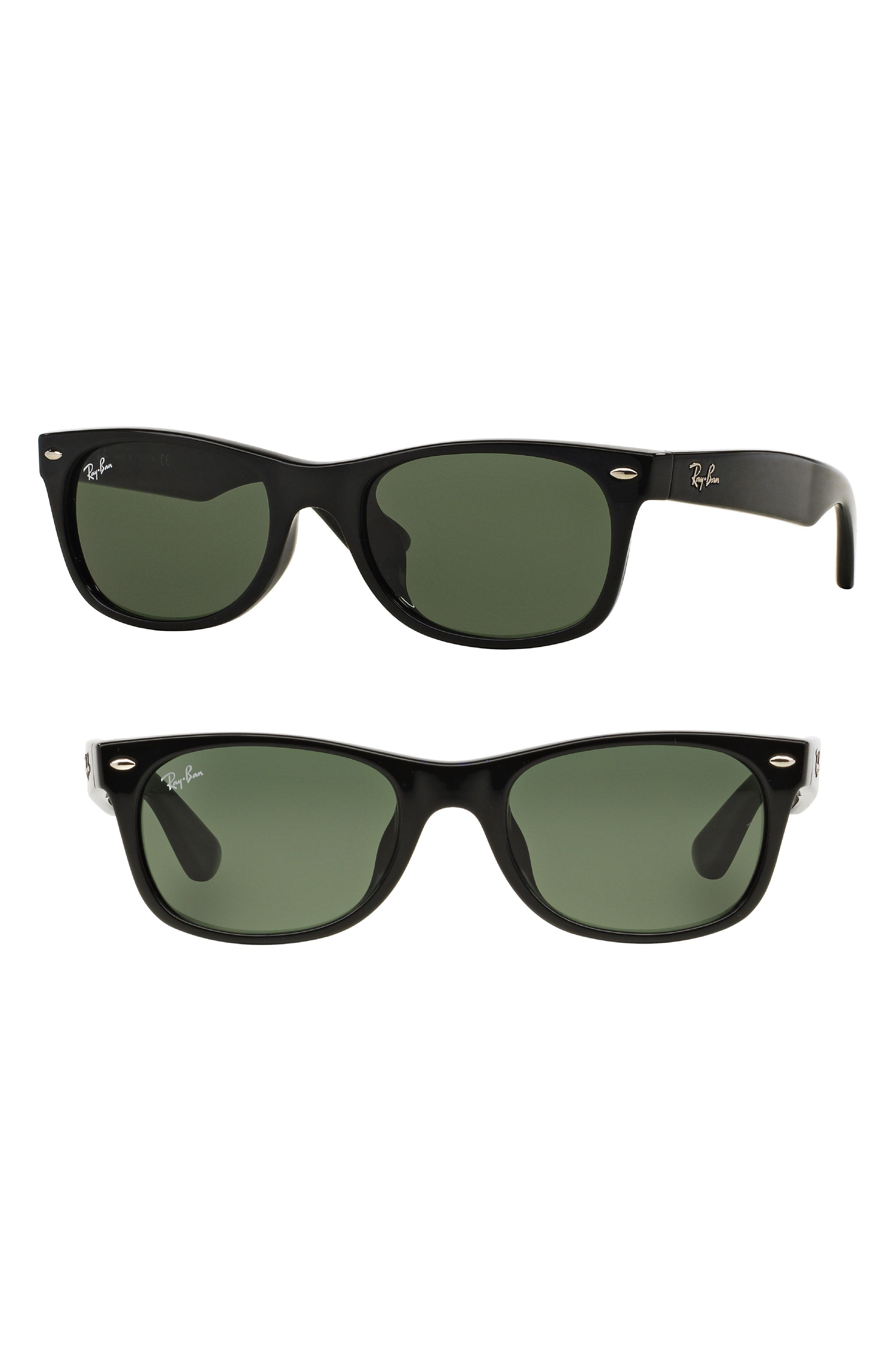 New Wayfarer Classic 58mm Sunglasses,                             Main thumbnail 1, color,                             Crystal/ Green