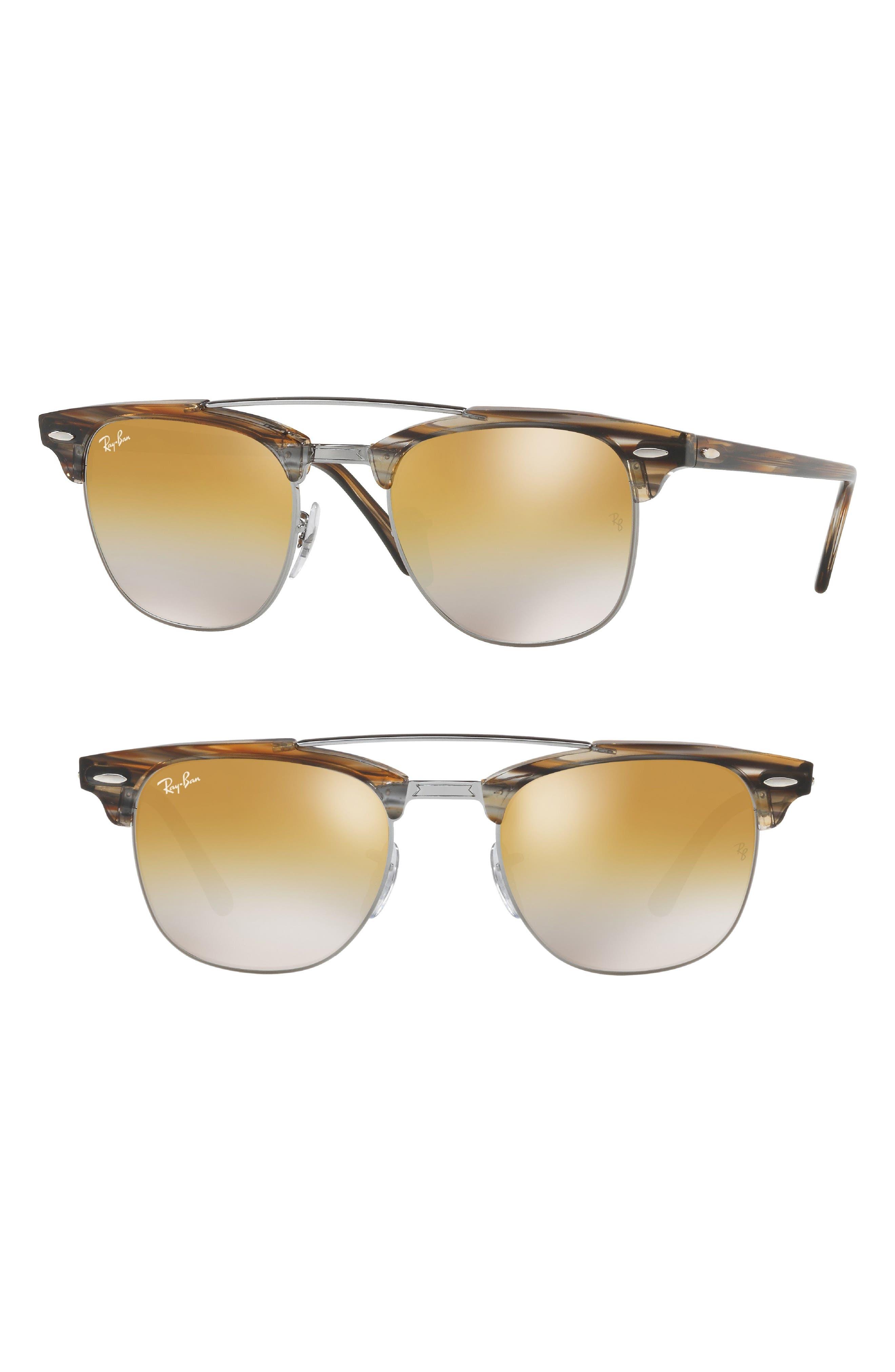 51mm Gradient Mirrored Sunglasses,                         Main,                         color, Gunmetal