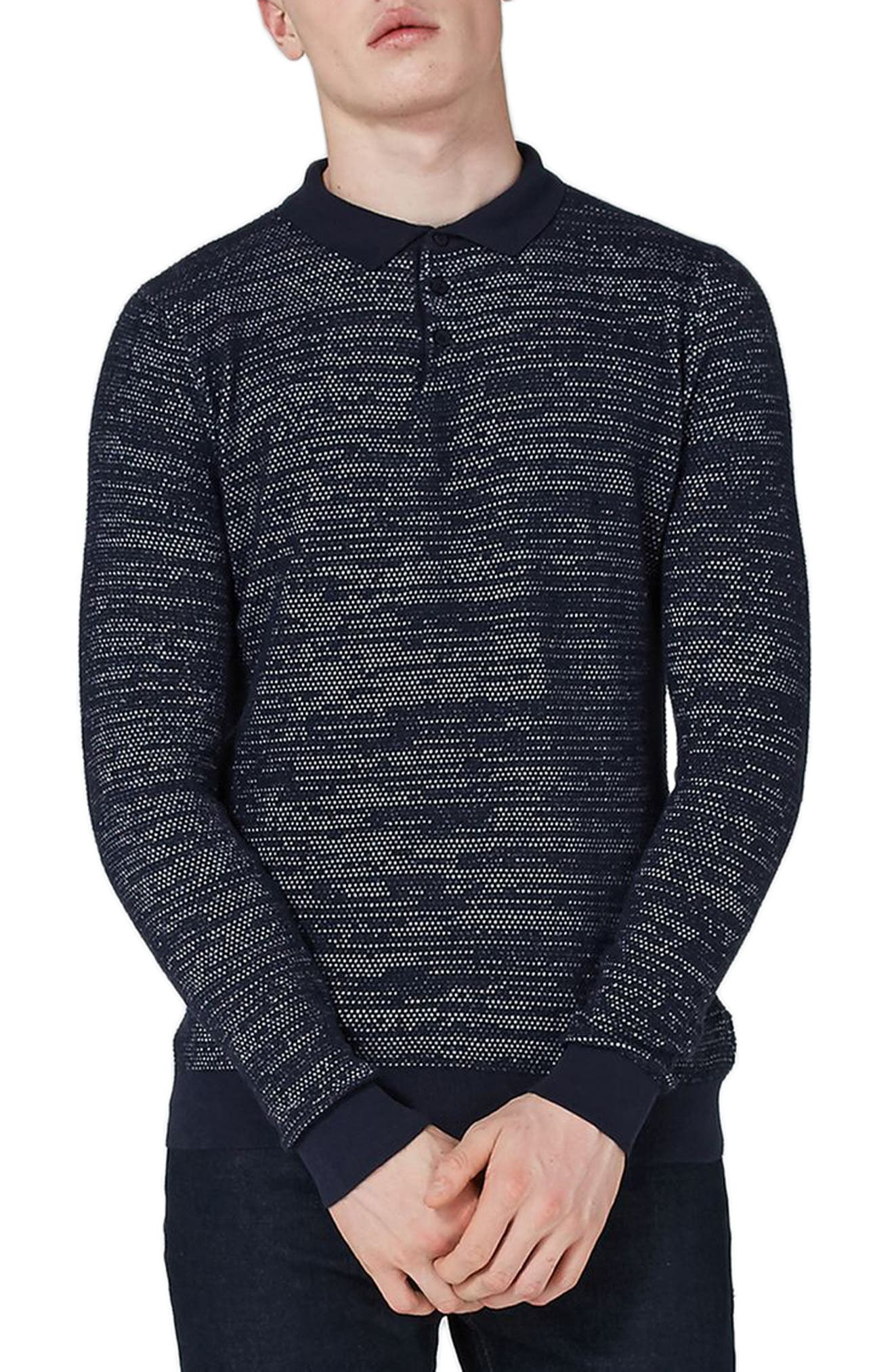 Topman Classic Fit Texture Long Sleeve Polo