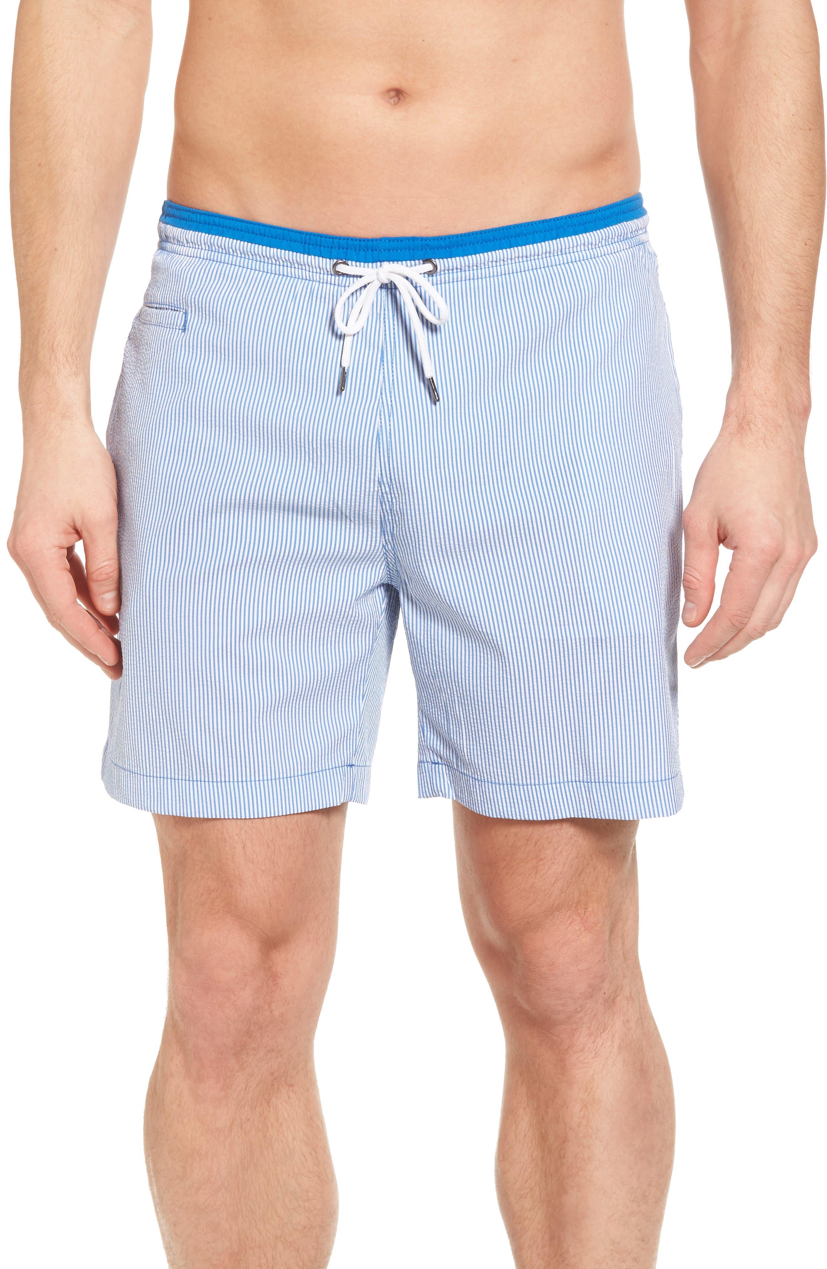 San O Stripe Swim Trunks,                         Main,                         color, Nautical Blue/ White