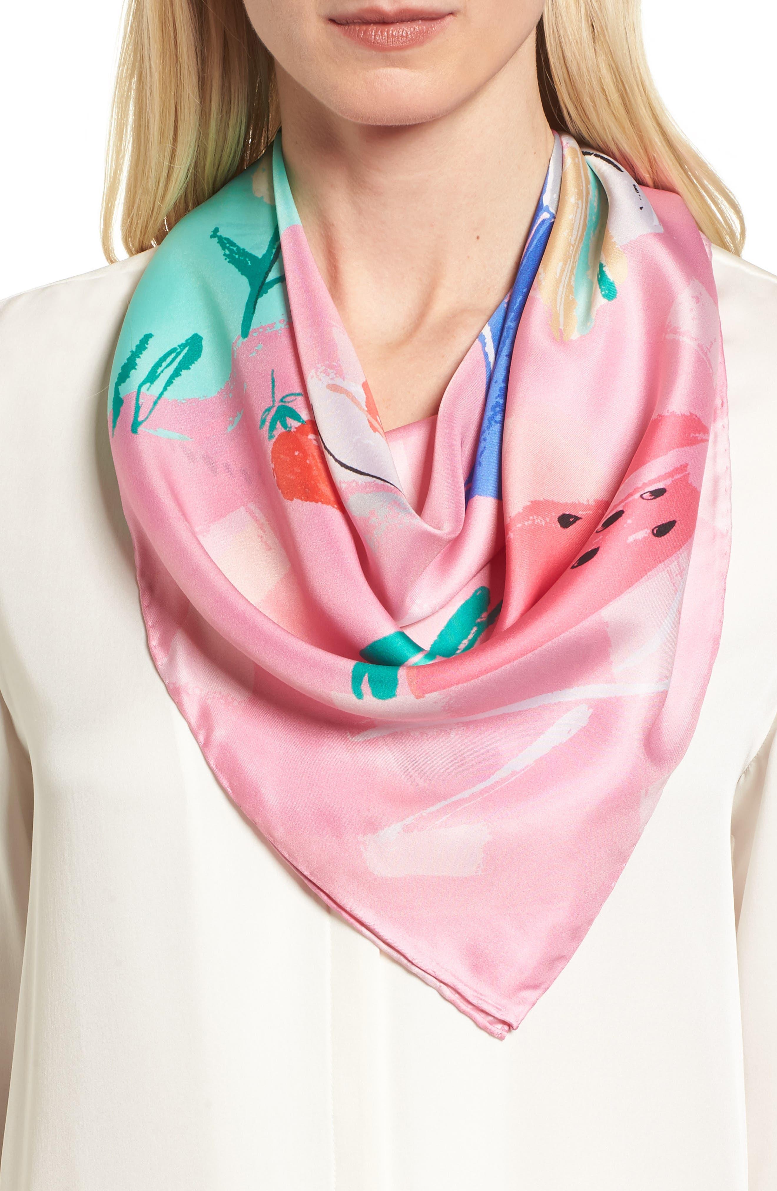 picnic square silk scarf,                             Main thumbnail 1, color,                             Mint Foam