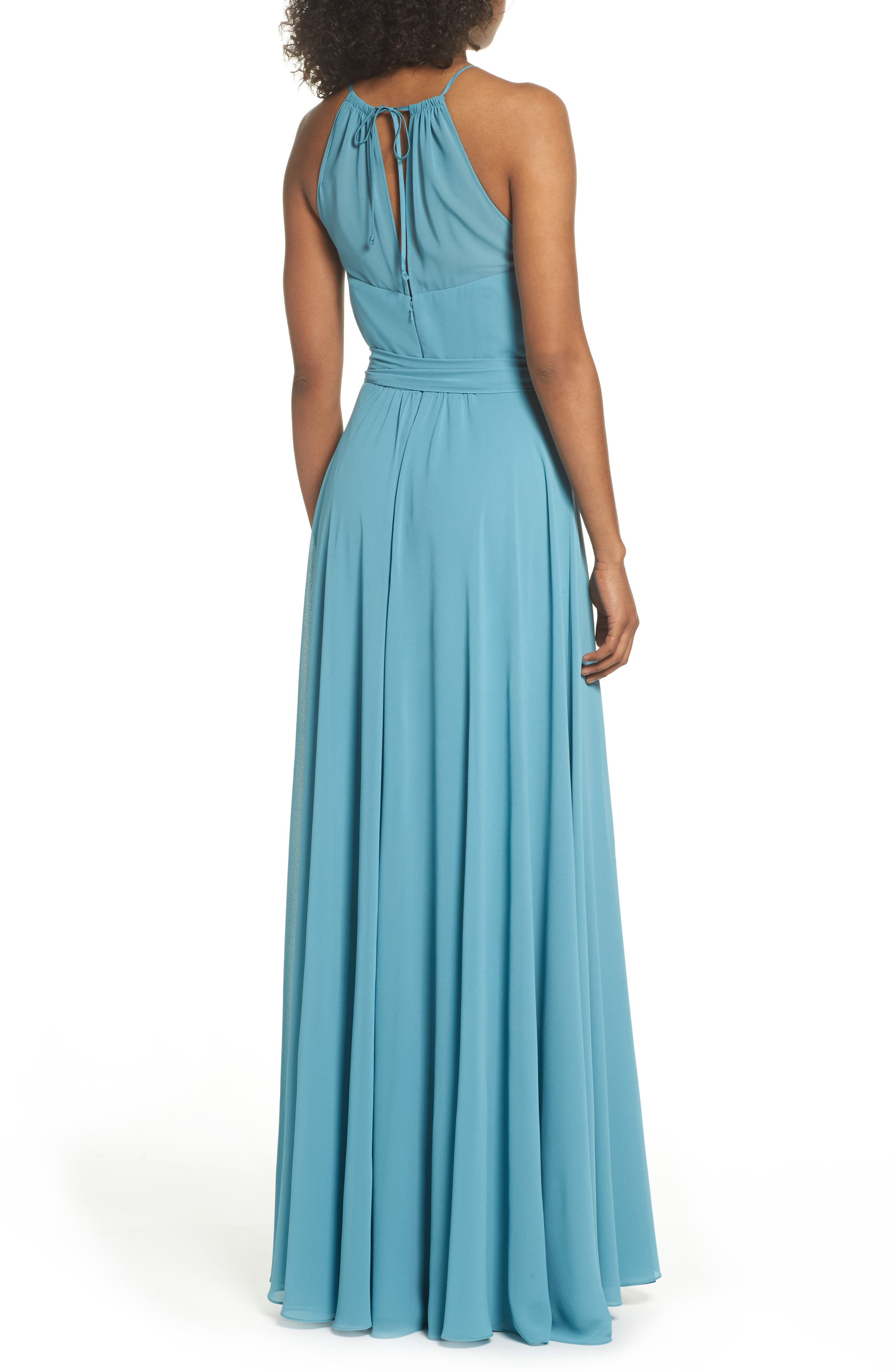 Kyra Chiffon Halter Gown,                             Alternate thumbnail 2, color,                             Teal