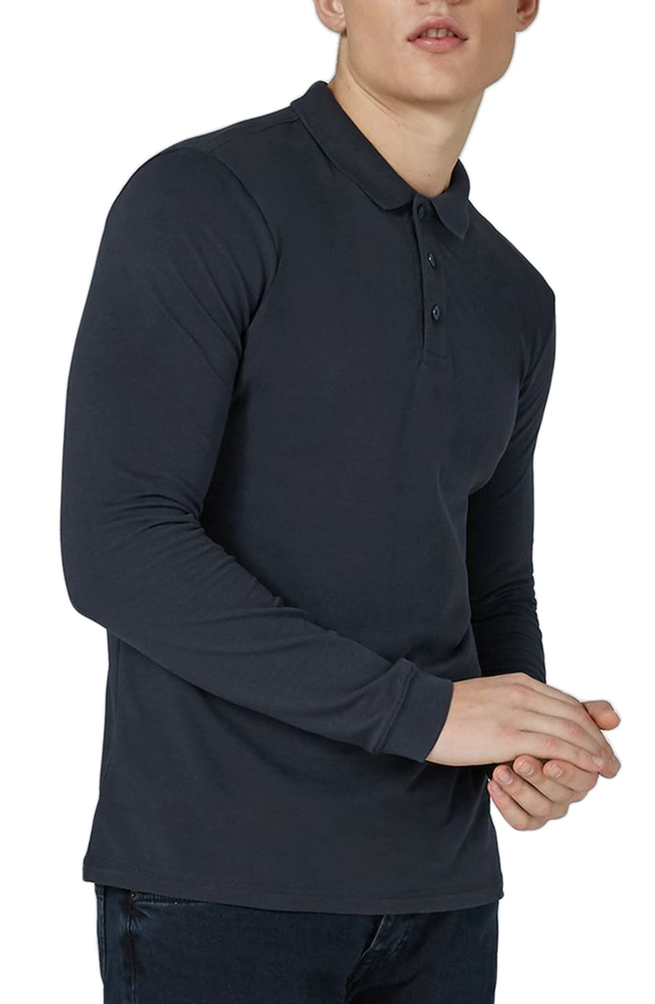 Leon Muscle Fit Long Sleeve Polo,                         Main,                         color, Dark Blue