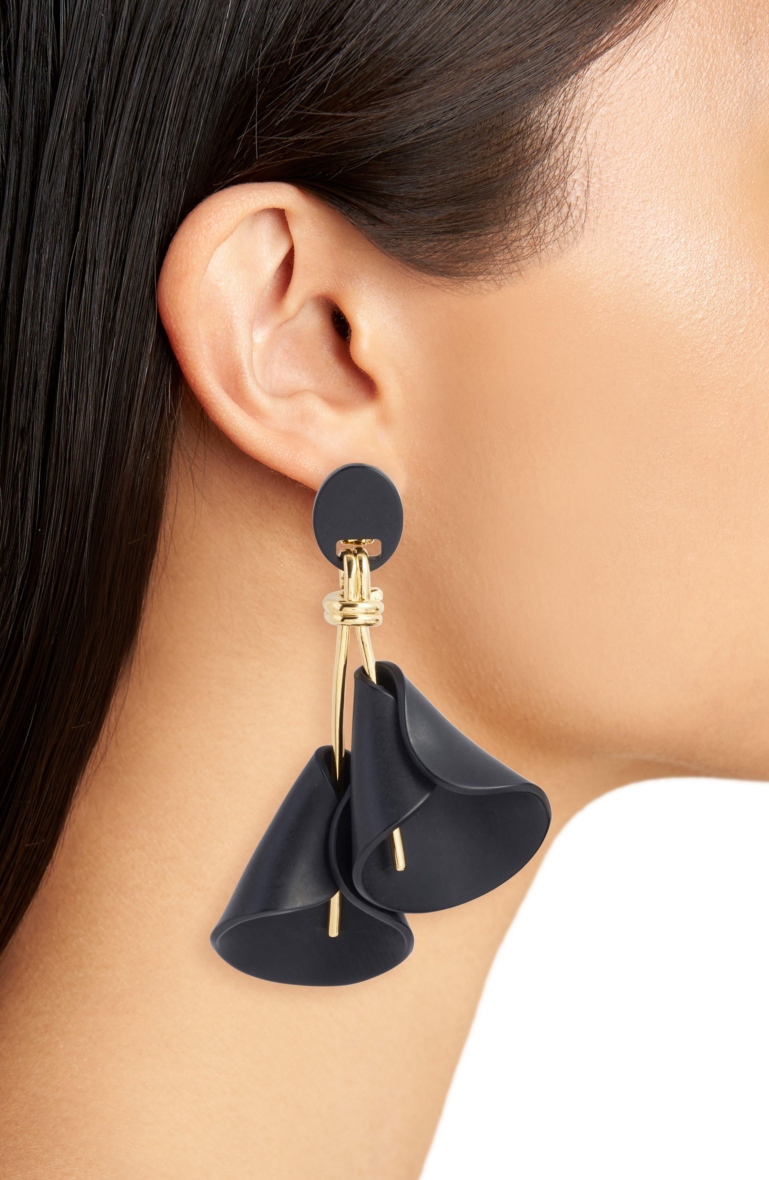 Calla Lily Clip Drop Earrings,                             Alternate thumbnail 2, color,                             Jet