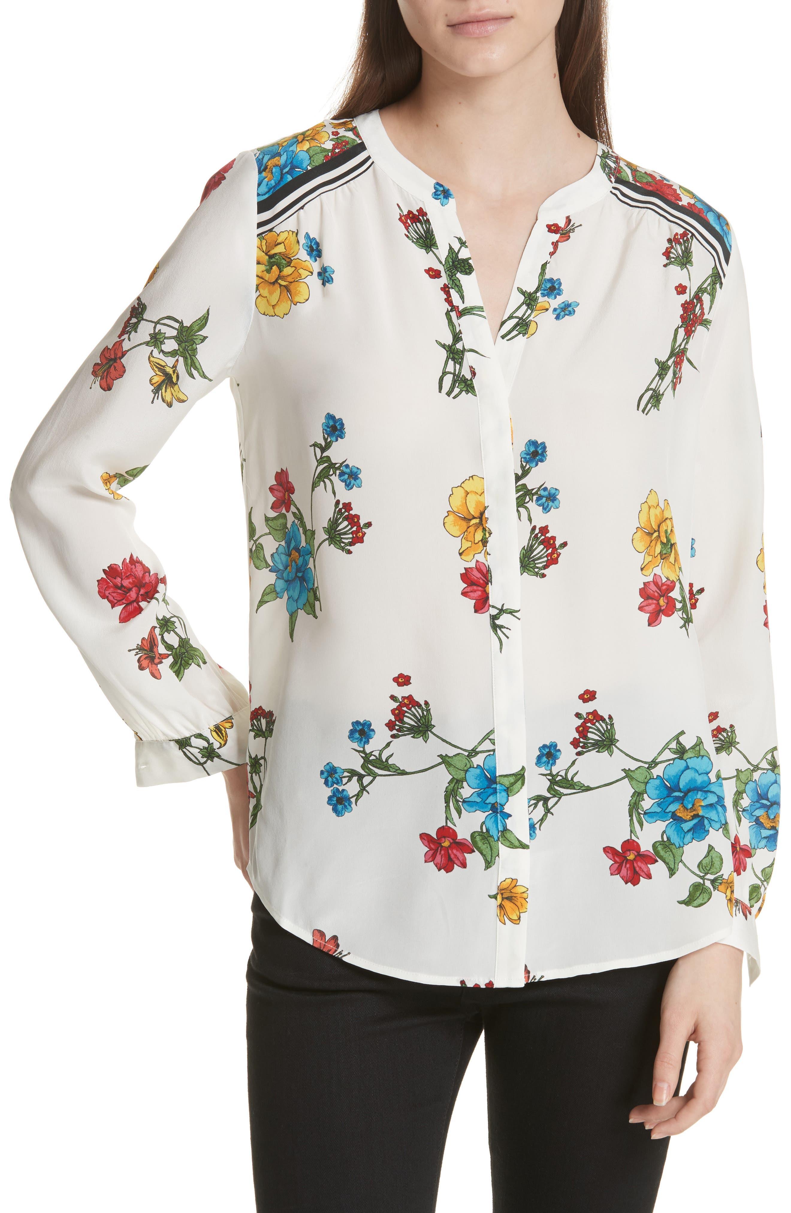 Yaritza B Floral Silk Top,                             Main thumbnail 1, color,                             Porcelain