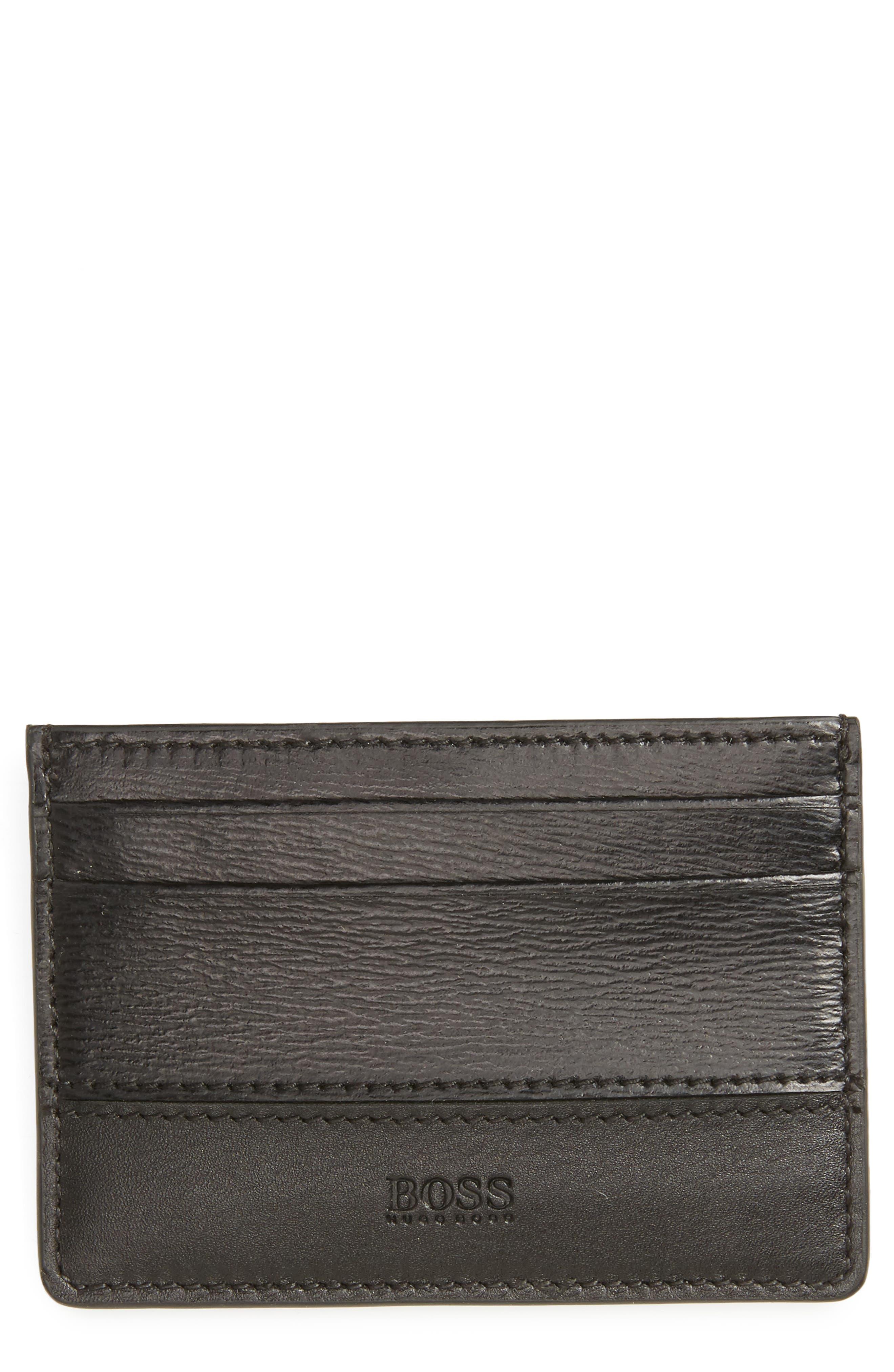 Focus Leather Card Case,                         Main,                         color, Black